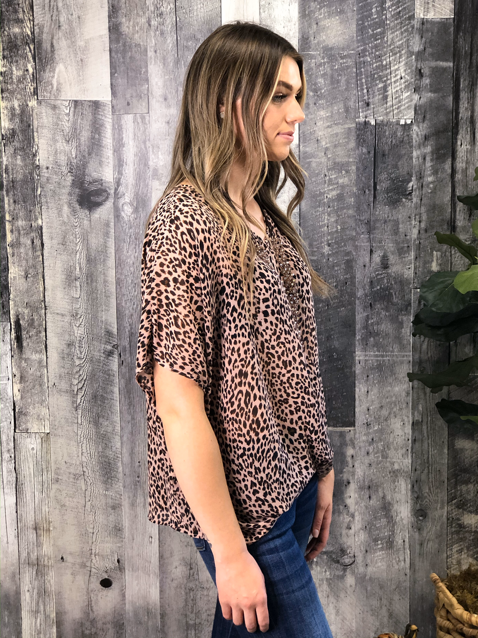 Blush Animal Print Blouse