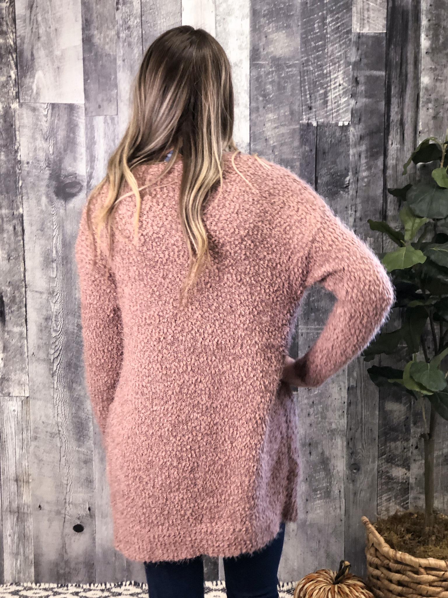 Purple Mauve Sweater Cardigan