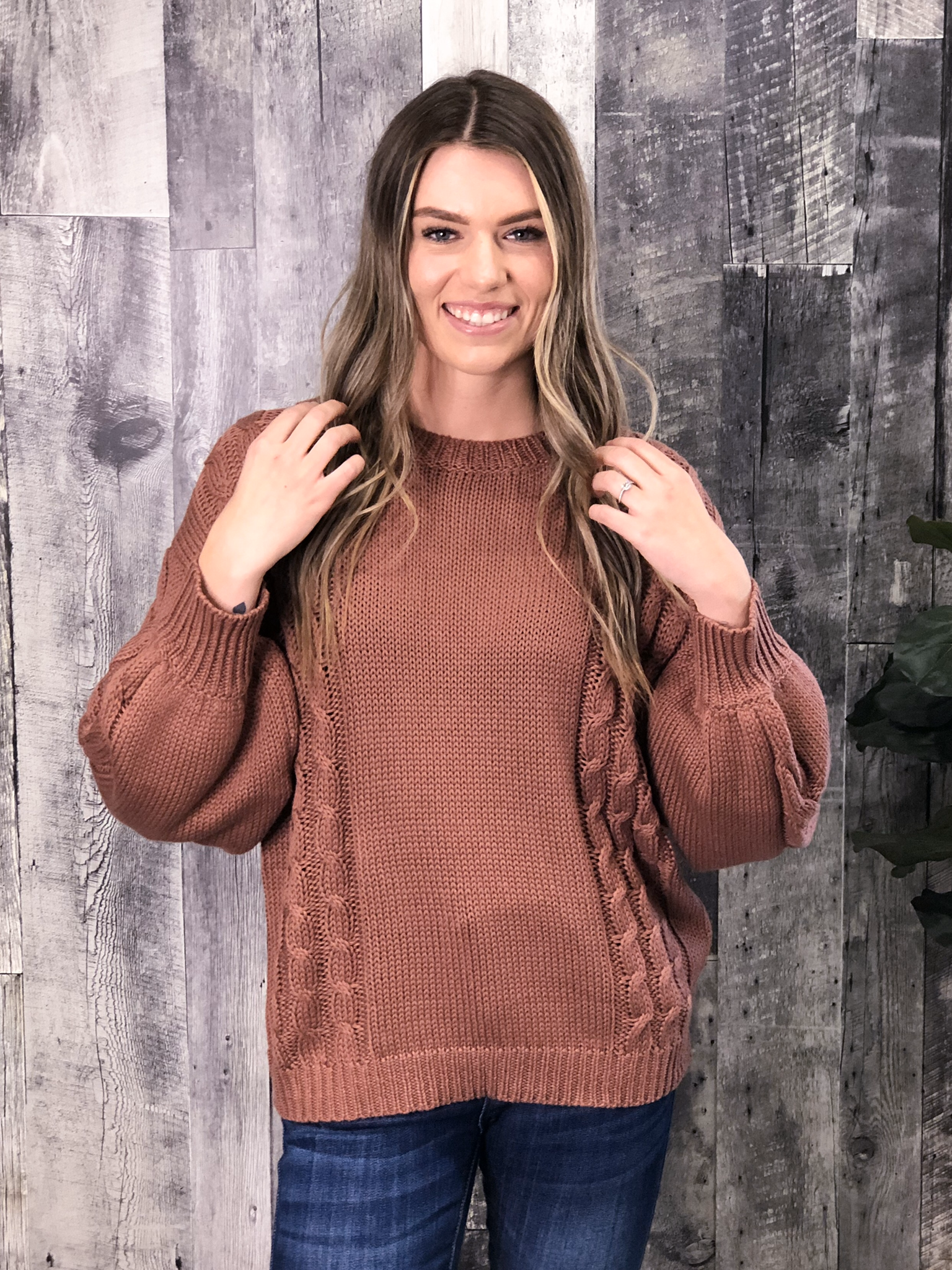 Rust Cable Sweater