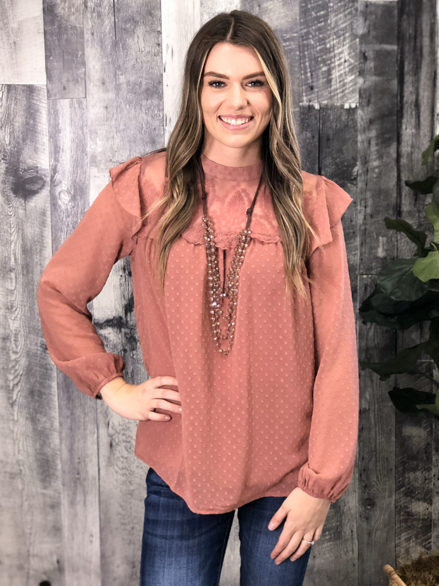 Blush Ruffle Blouse 84002