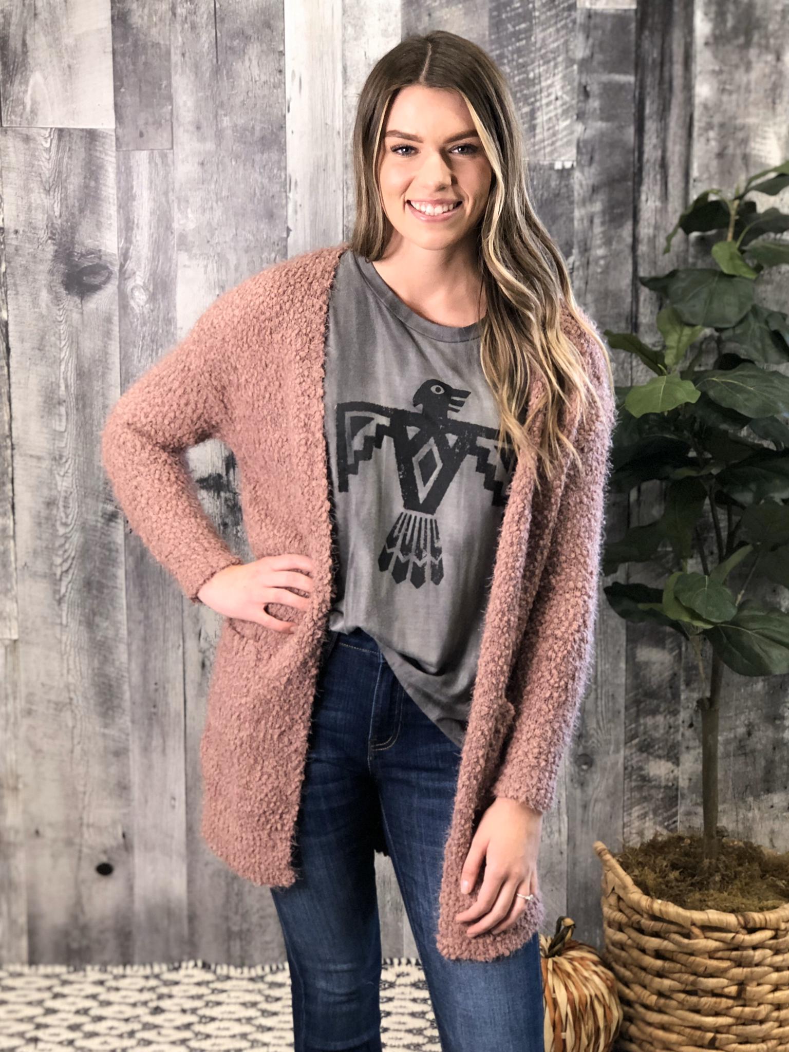 Purple Mauve Sweater Cardigan 840101