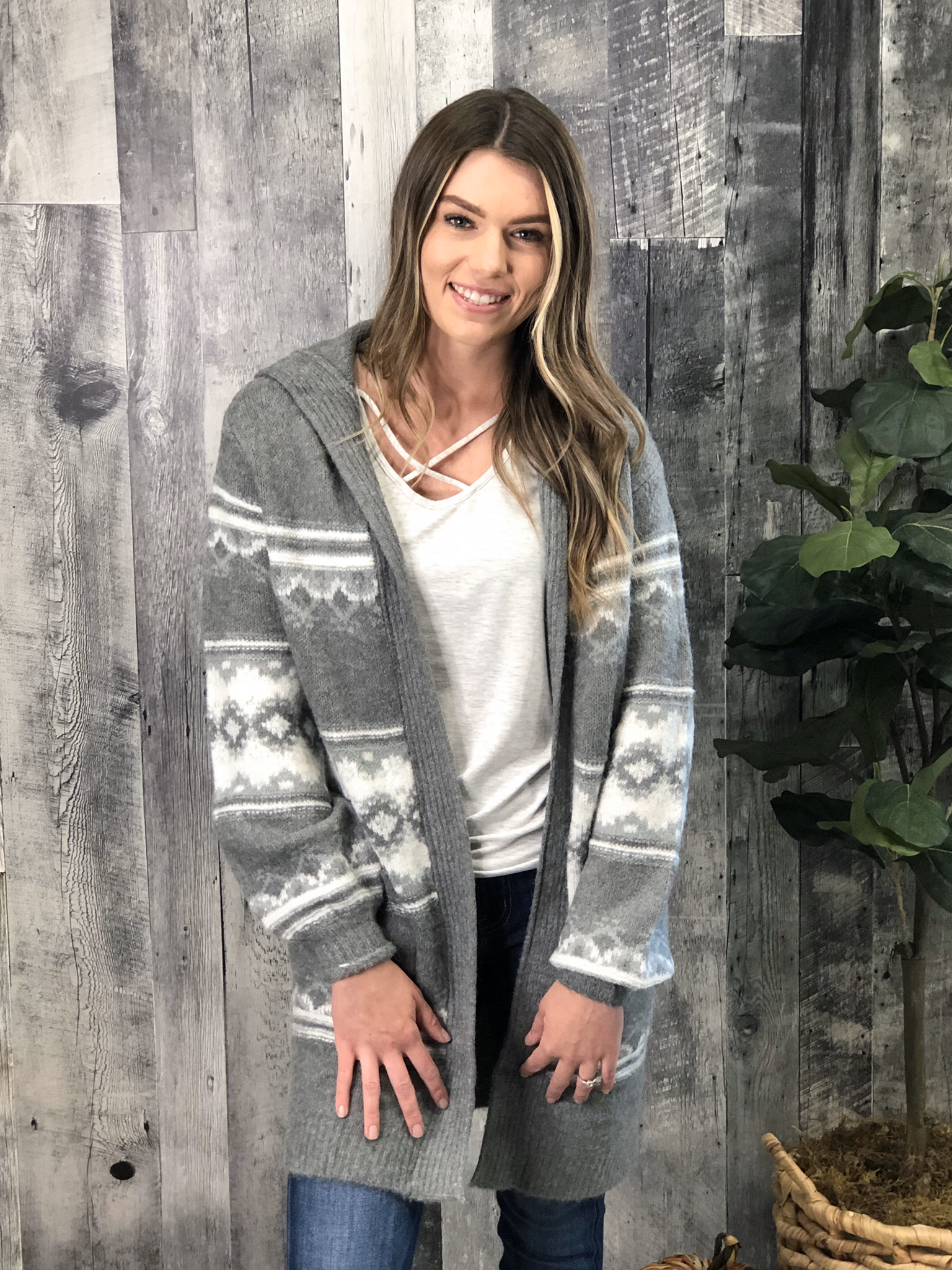 Grey Pattern Hooded Sweater Cardigan 84018