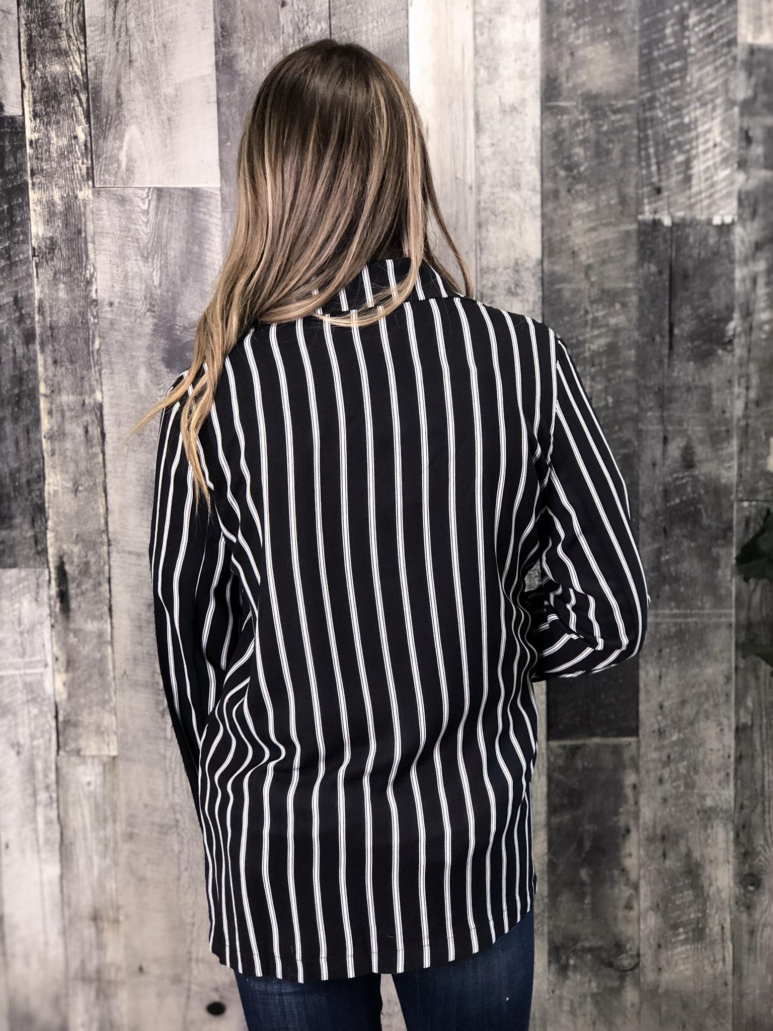 Black and White Stripe Blazer