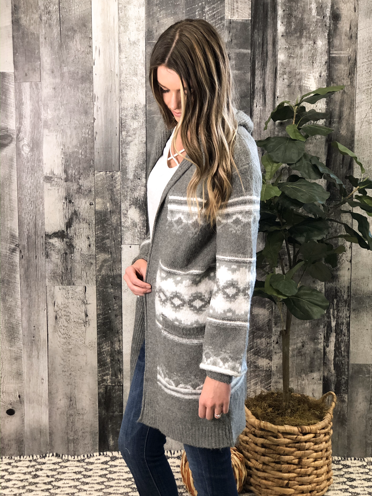 Grey Pattern Hooded Sweater Cardigan