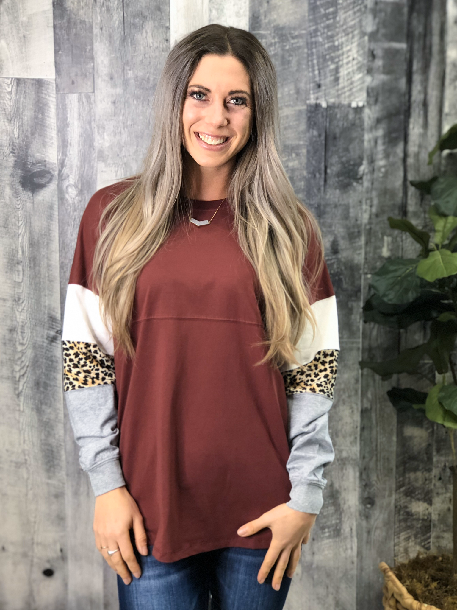 Color Block Sleeve Sweatshirt - Burgundy 84058