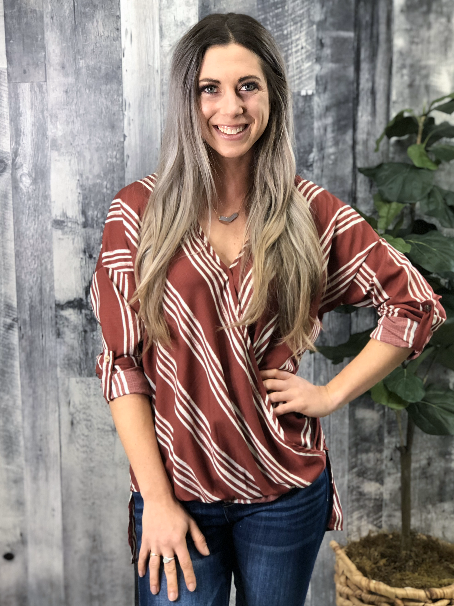 Rust Striped Blouse 84063
