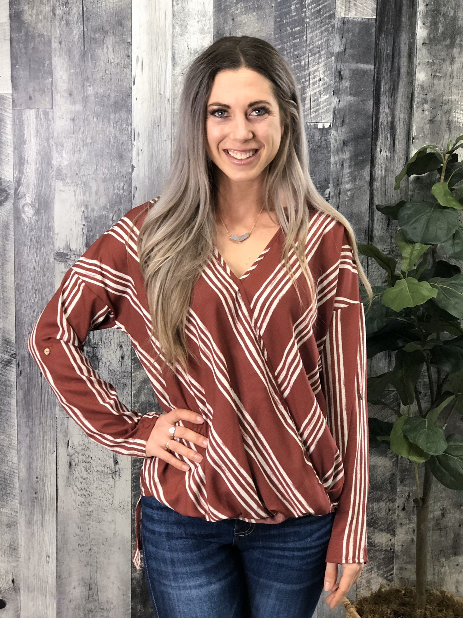 Rust Striped Blouse