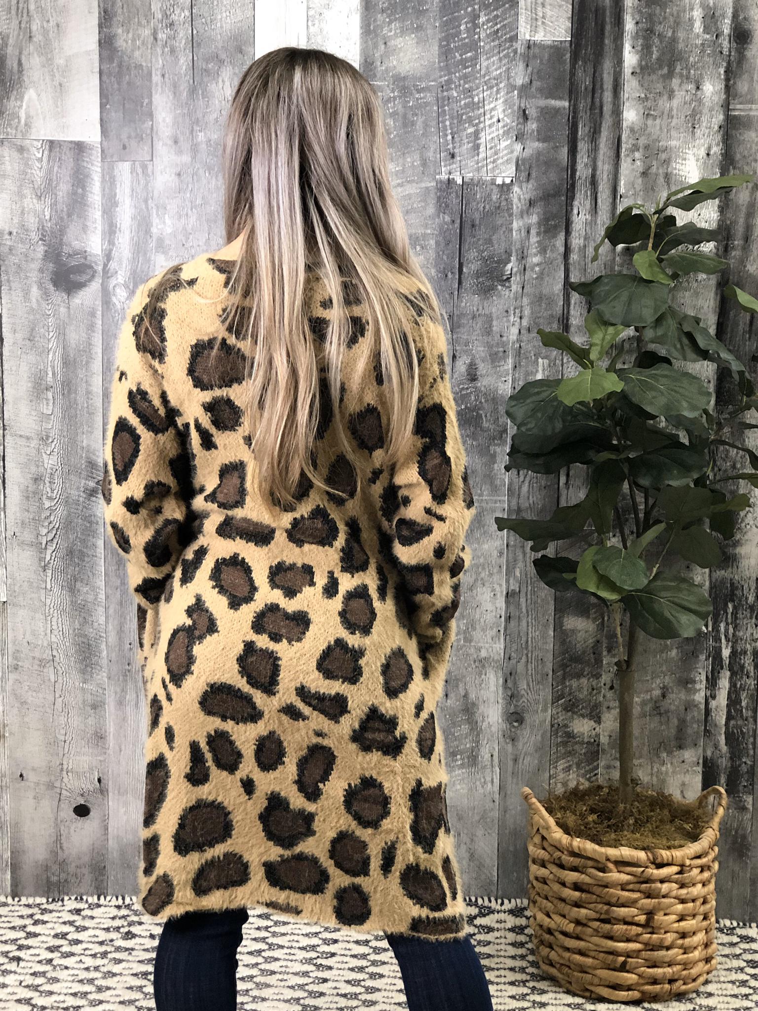 Fuzzy Brown Cheetah Cardigan