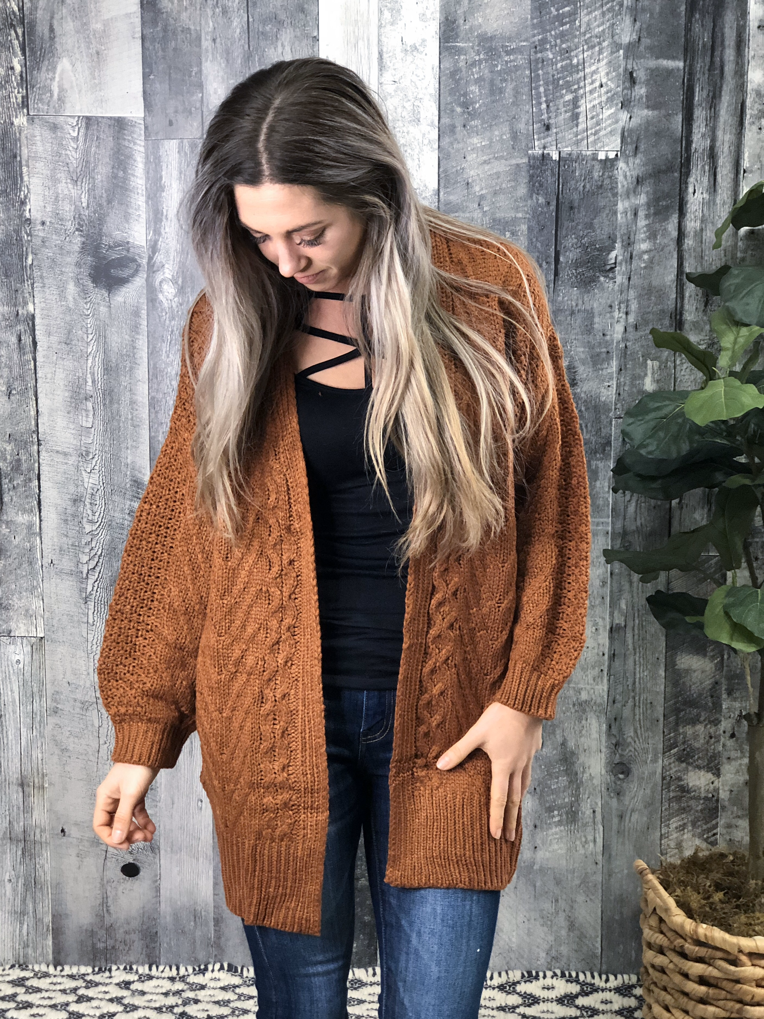 Rust Cable Cardigan 83987