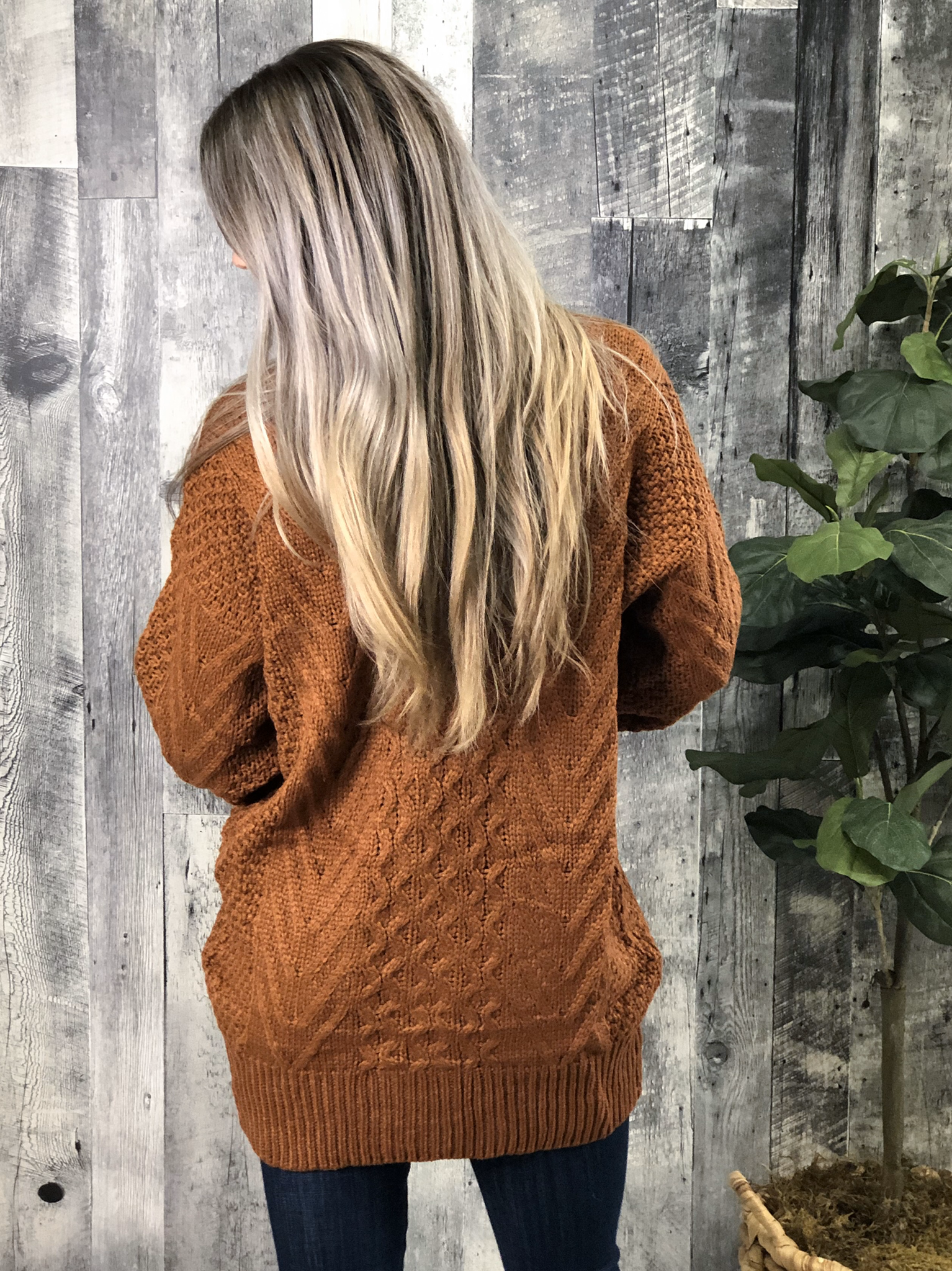Rust Cable Cardigan