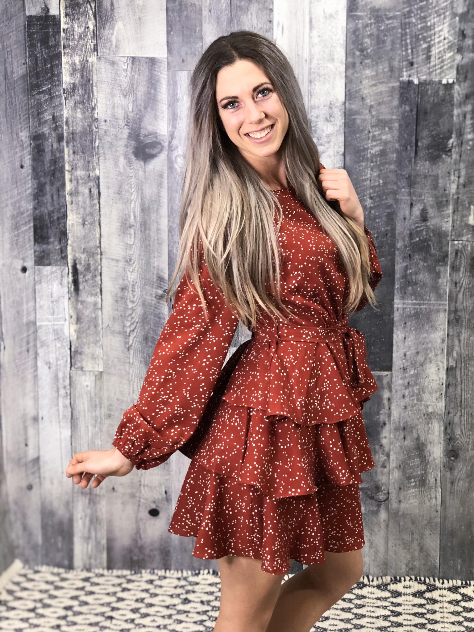 Rust Tiered Dalmatian Dress 9997