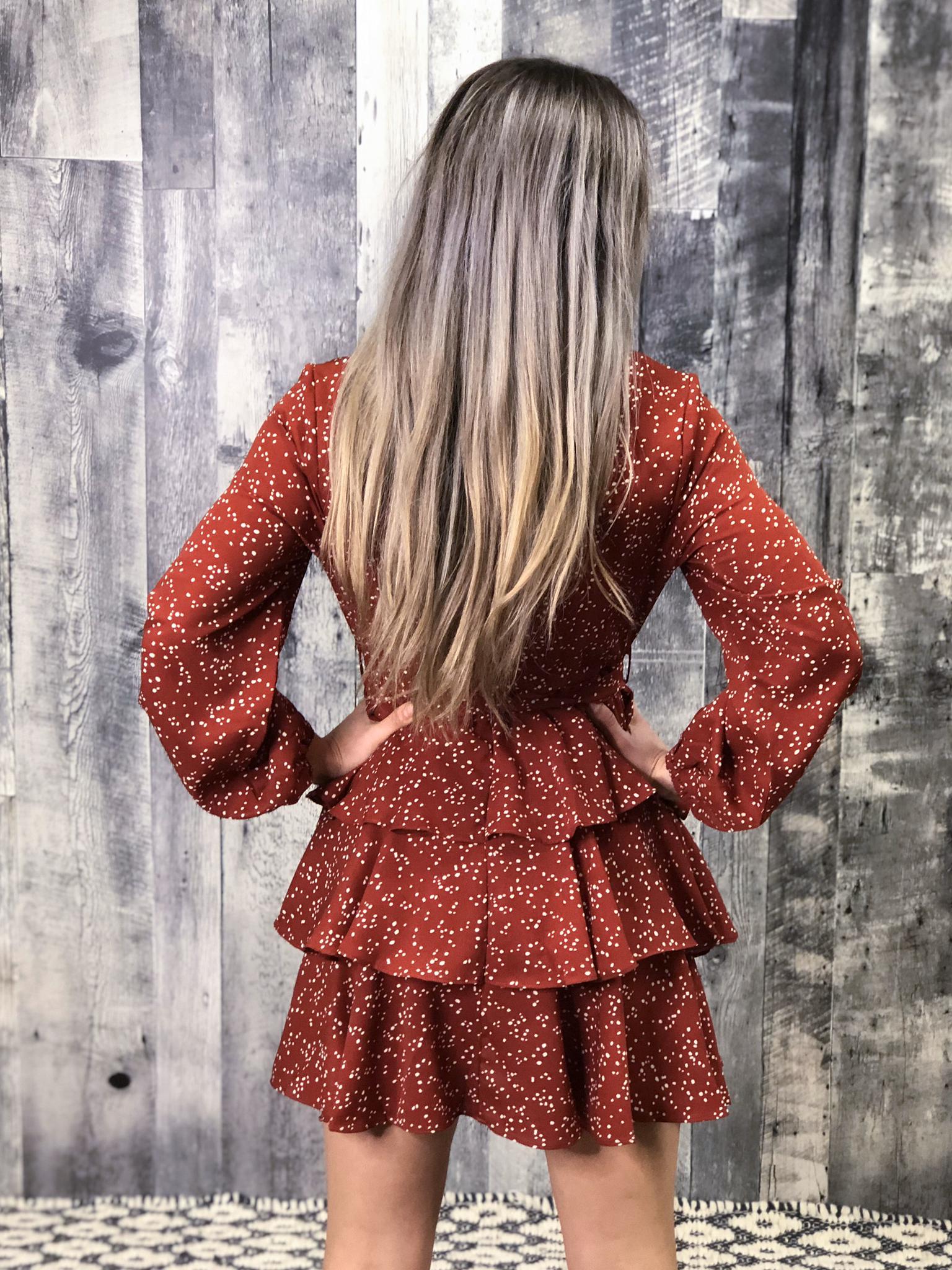 Rust Tiered Dalmatian Dress