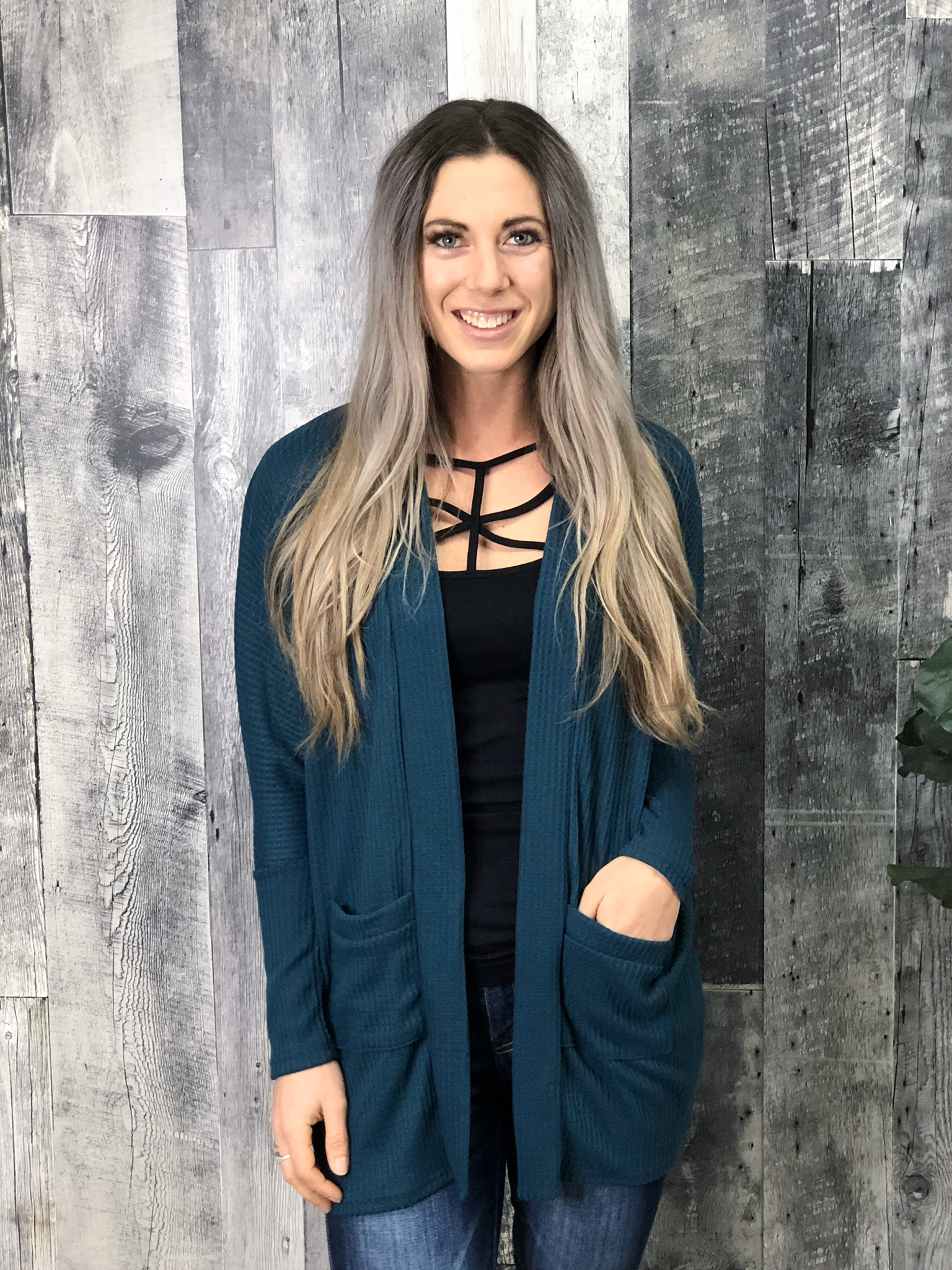 Waffle Cardigan - Limited Stock - Teal  84067