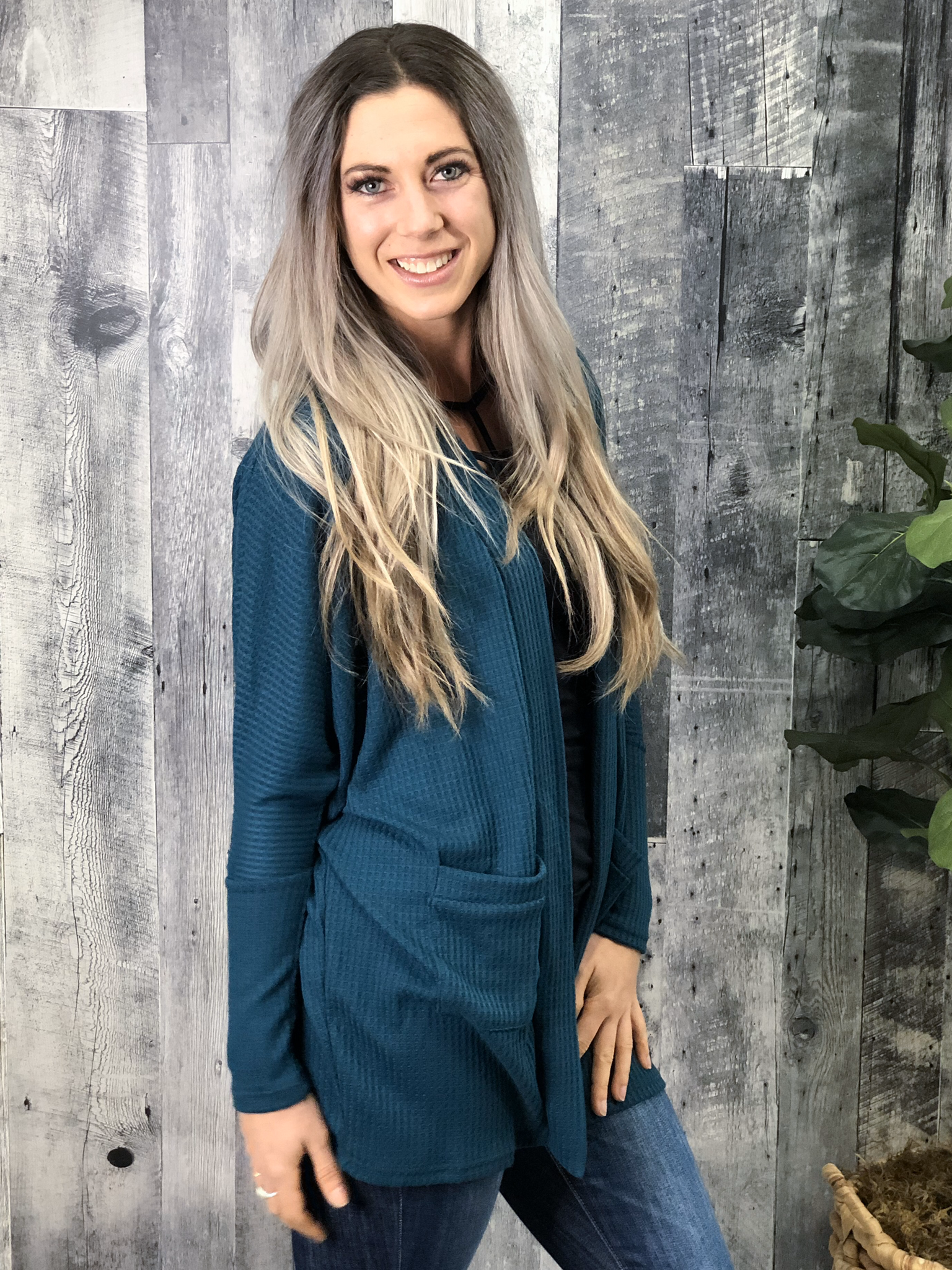 Waffle Cardigan - Limited Stock - Teal