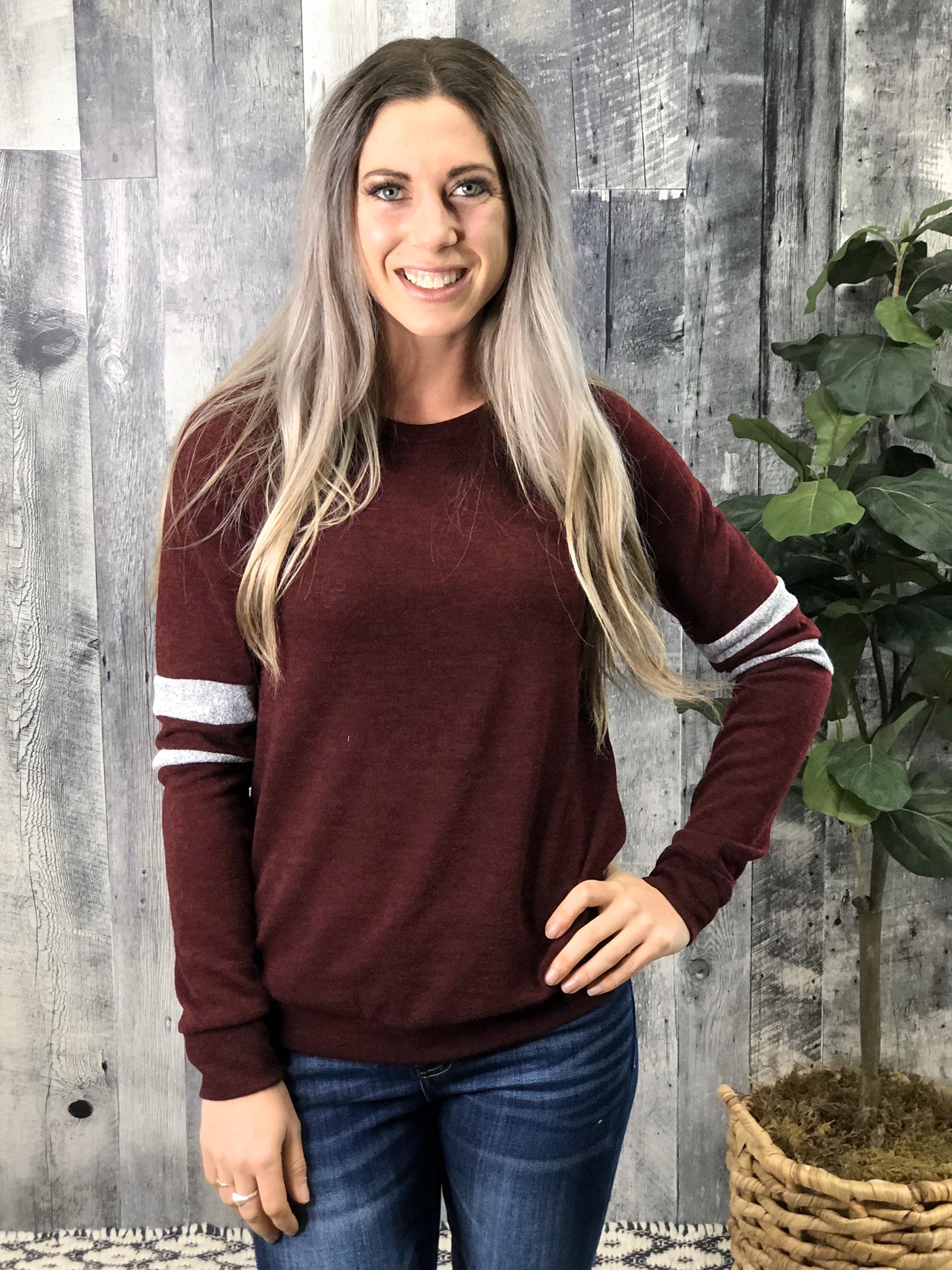 Burgundy Sweater with grey stripe Sleeve 999909