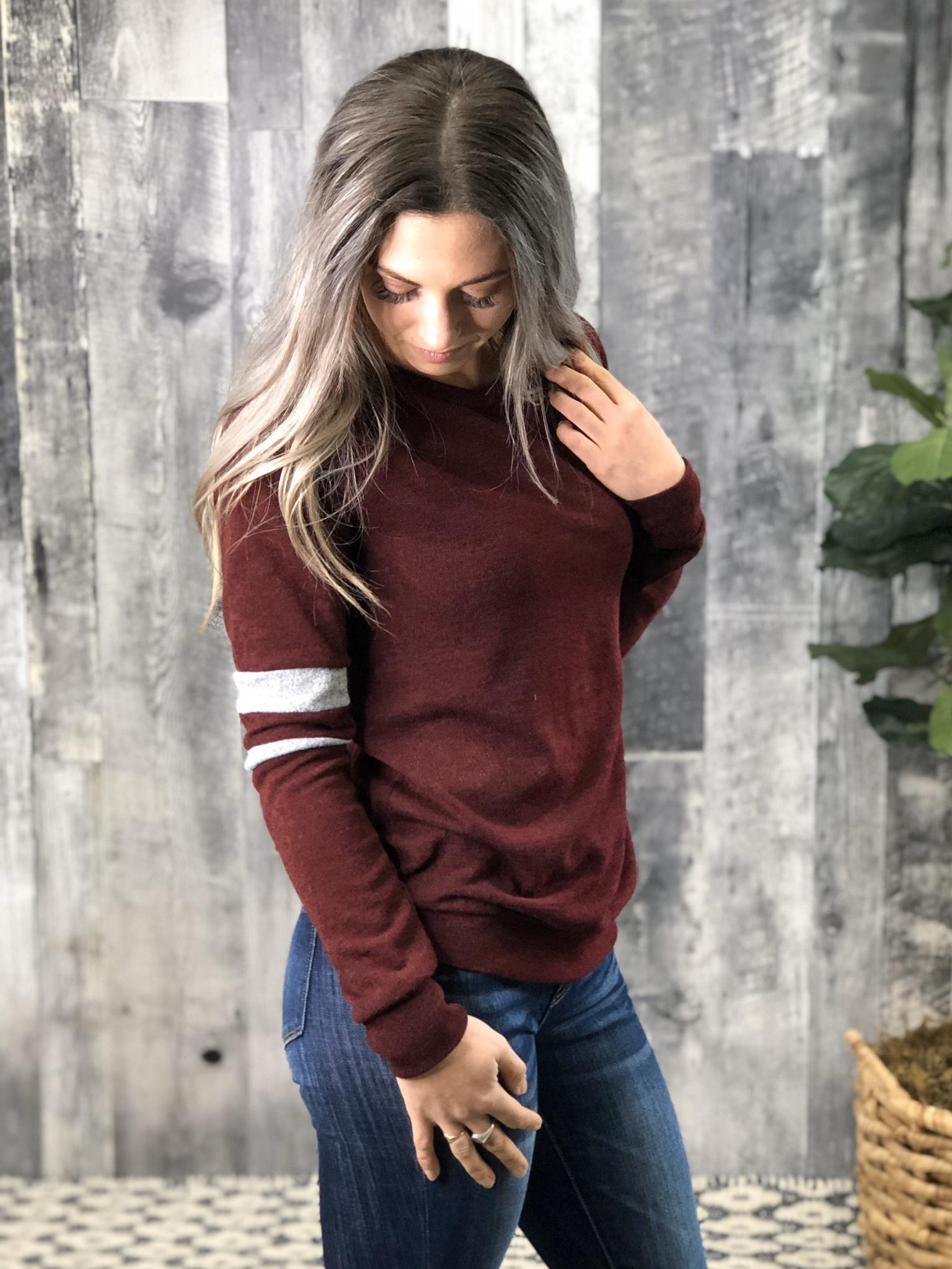 Burgundy Sweater with grey stripe Sleeve