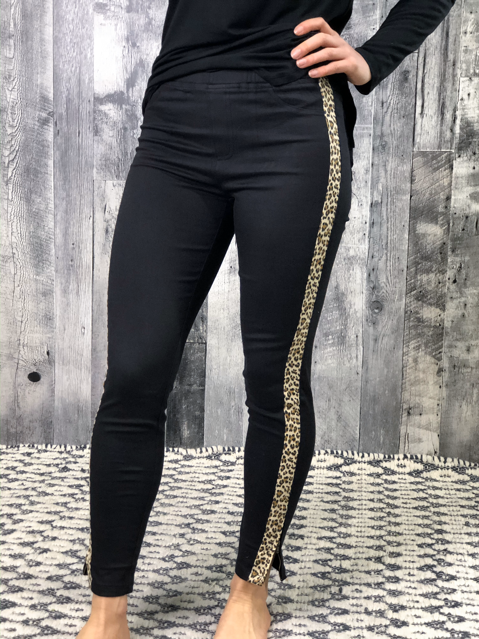 Black Cheetah Stripe Pants with zipper detail