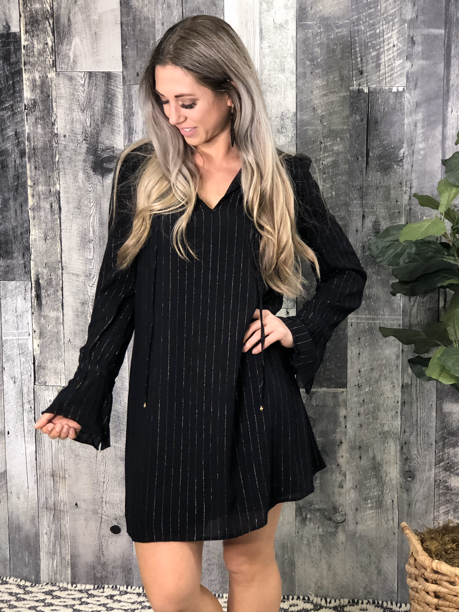 Black Dress with Metallic Pin Stripes