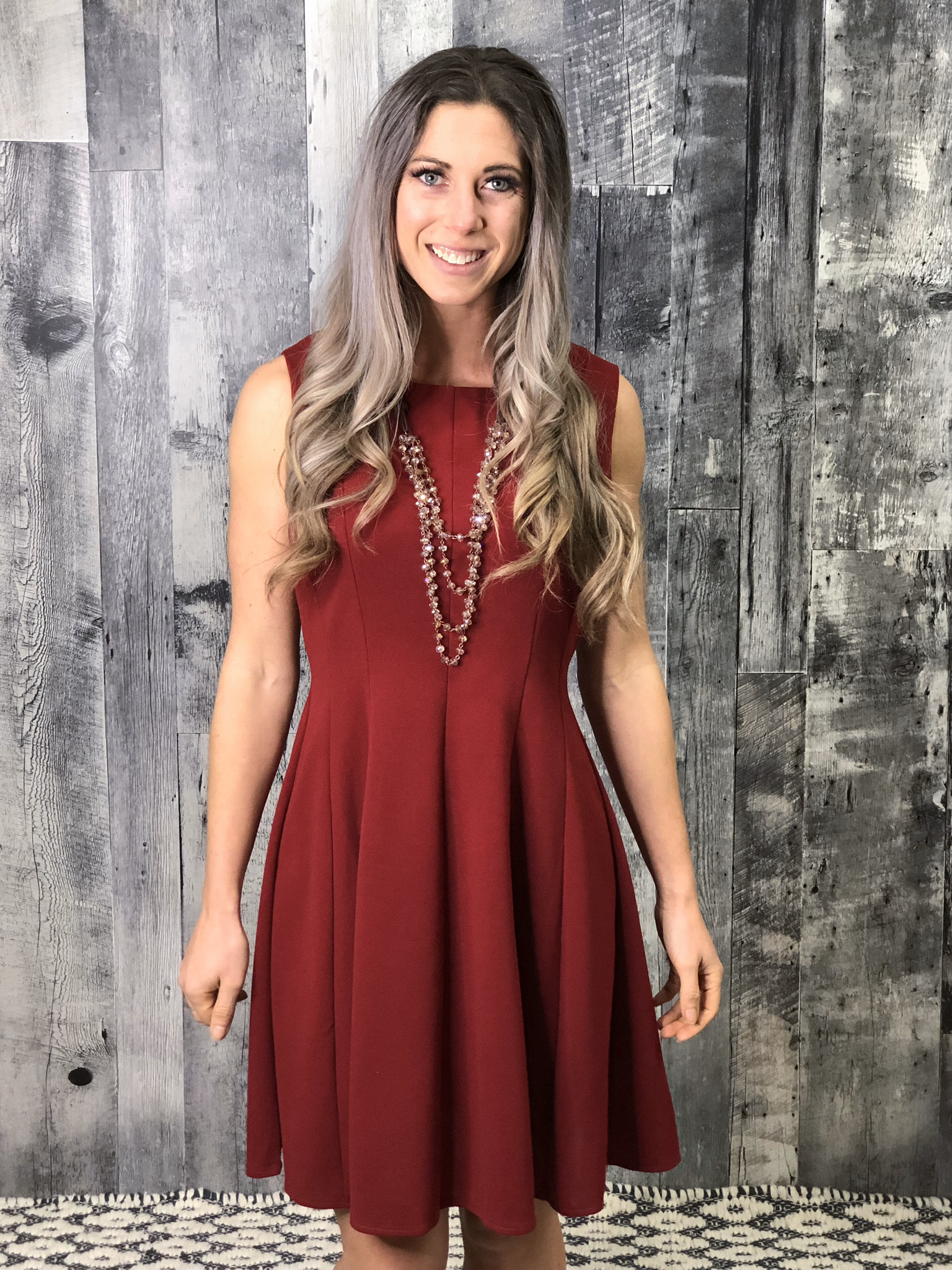 Red Fit and Flair Dress 84205