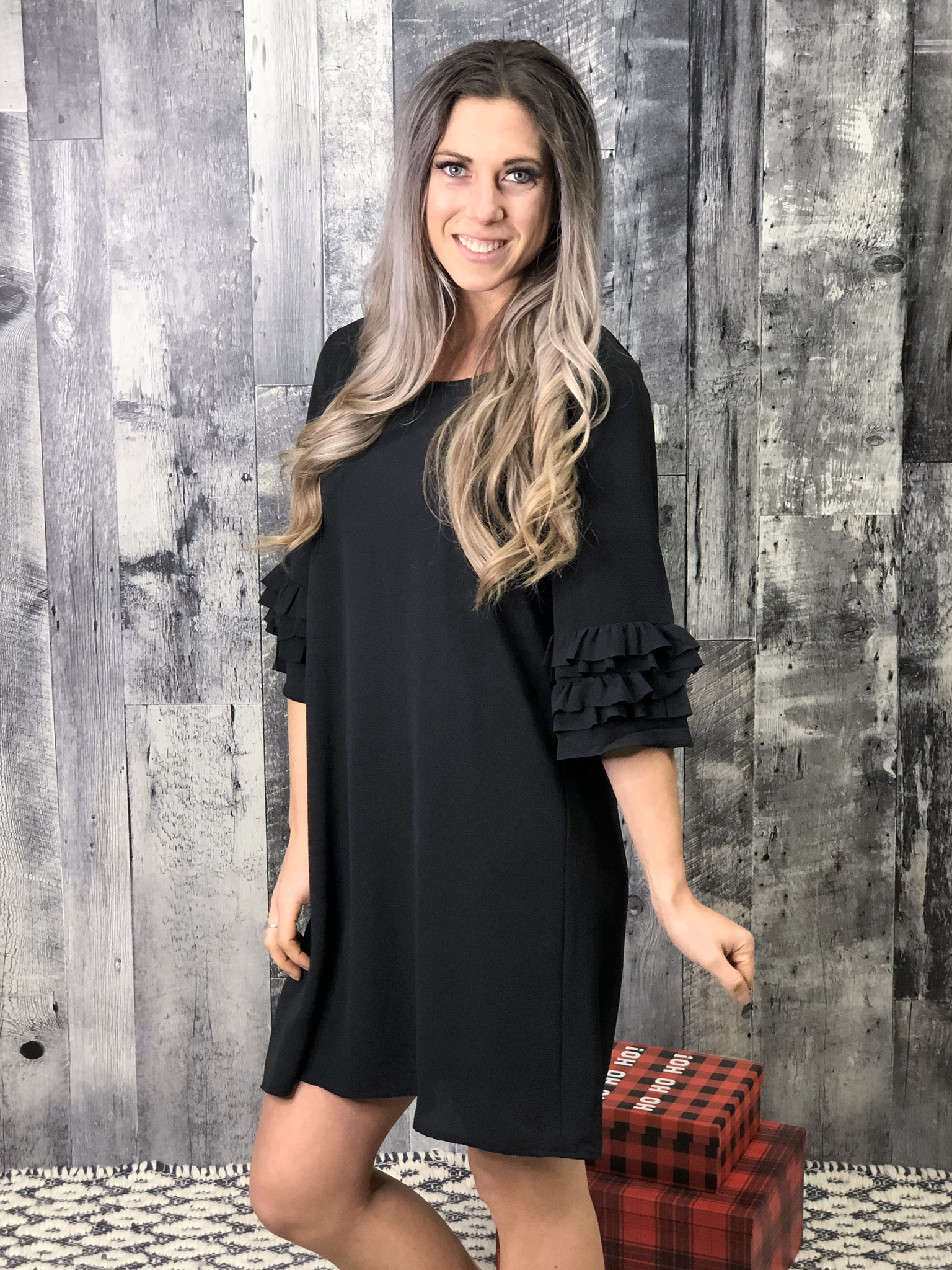 Black Shift Dress with sleeve detail