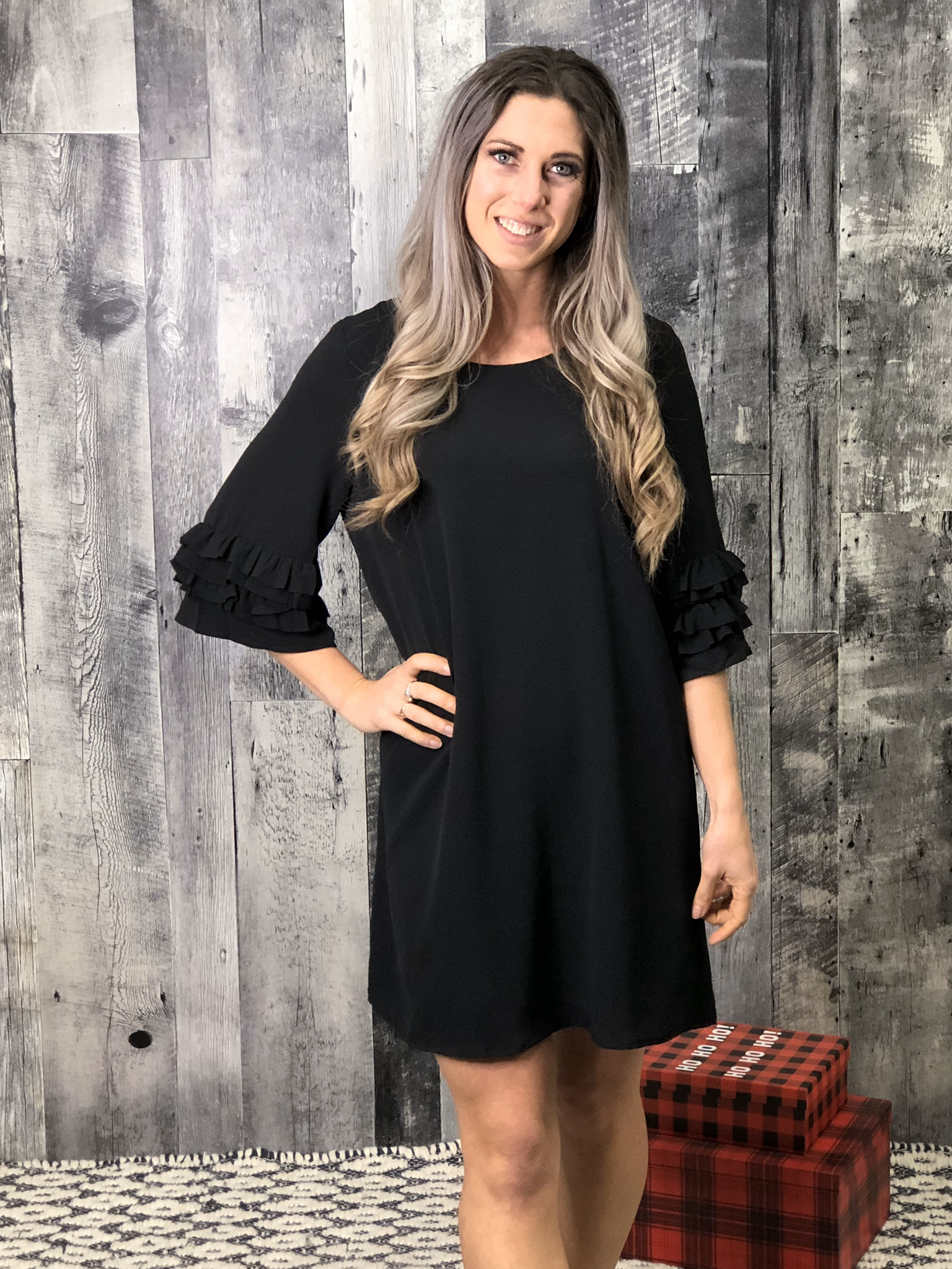 Black Shift Dress with sleeve detail 84209