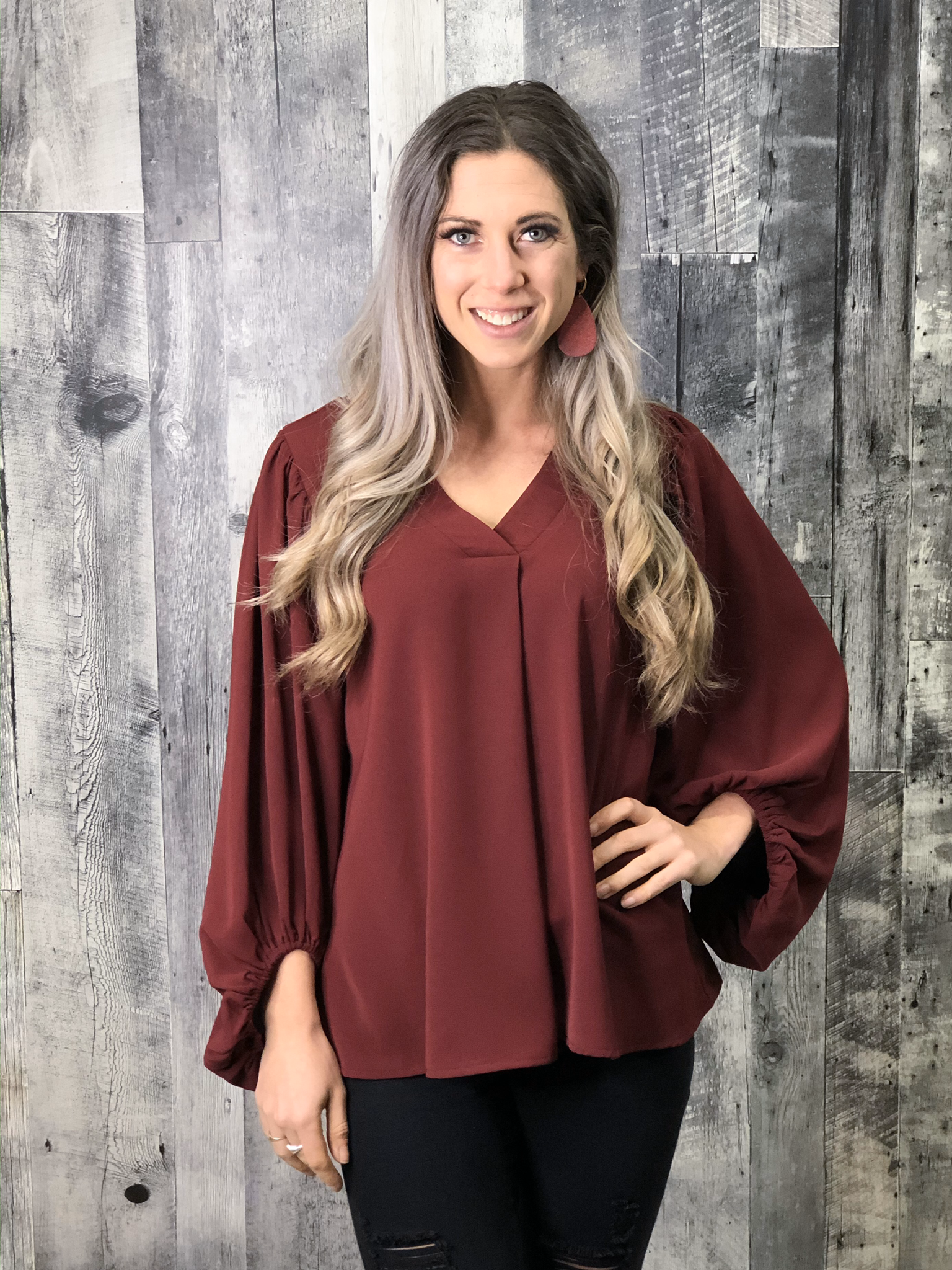 Red Blouse with Stand-Out Sleeves 84193
