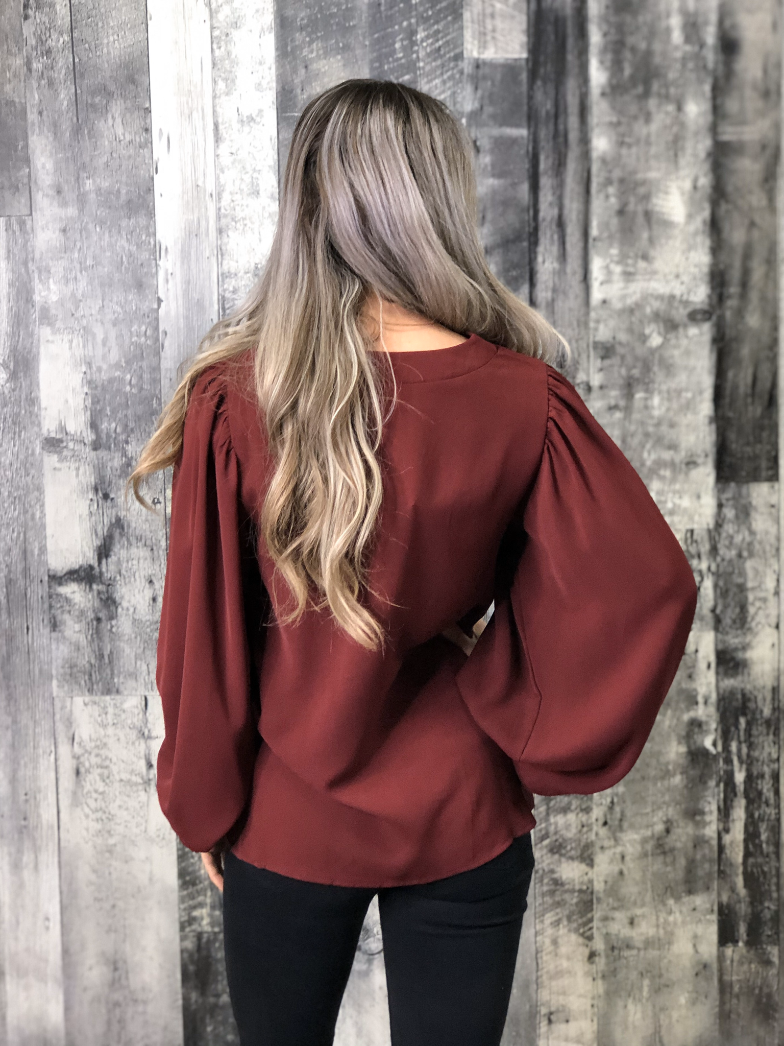 Red Blouse with Stand-Out Sleeves