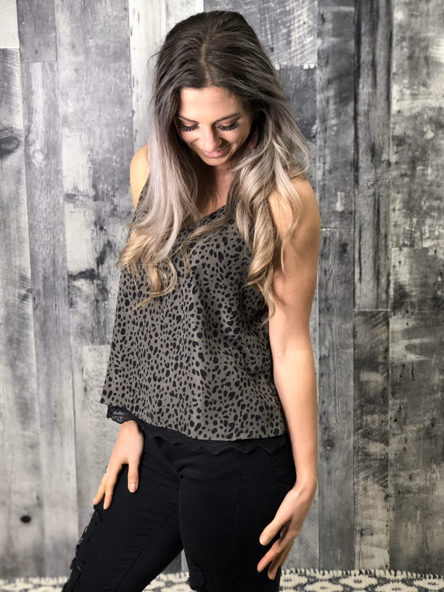 Grey Spotted Lace Tank