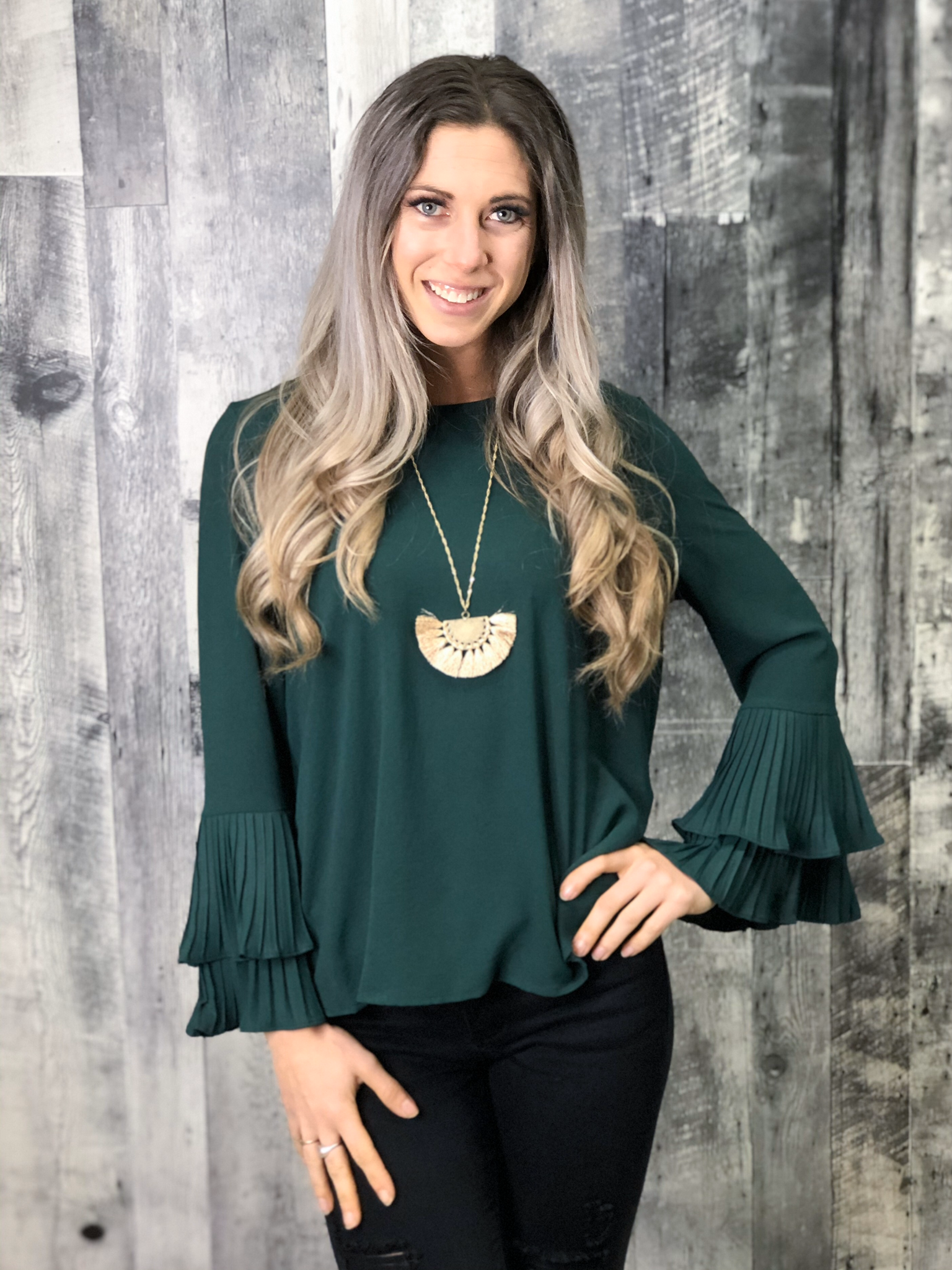 Green Blouse with pleated sleeve 84164