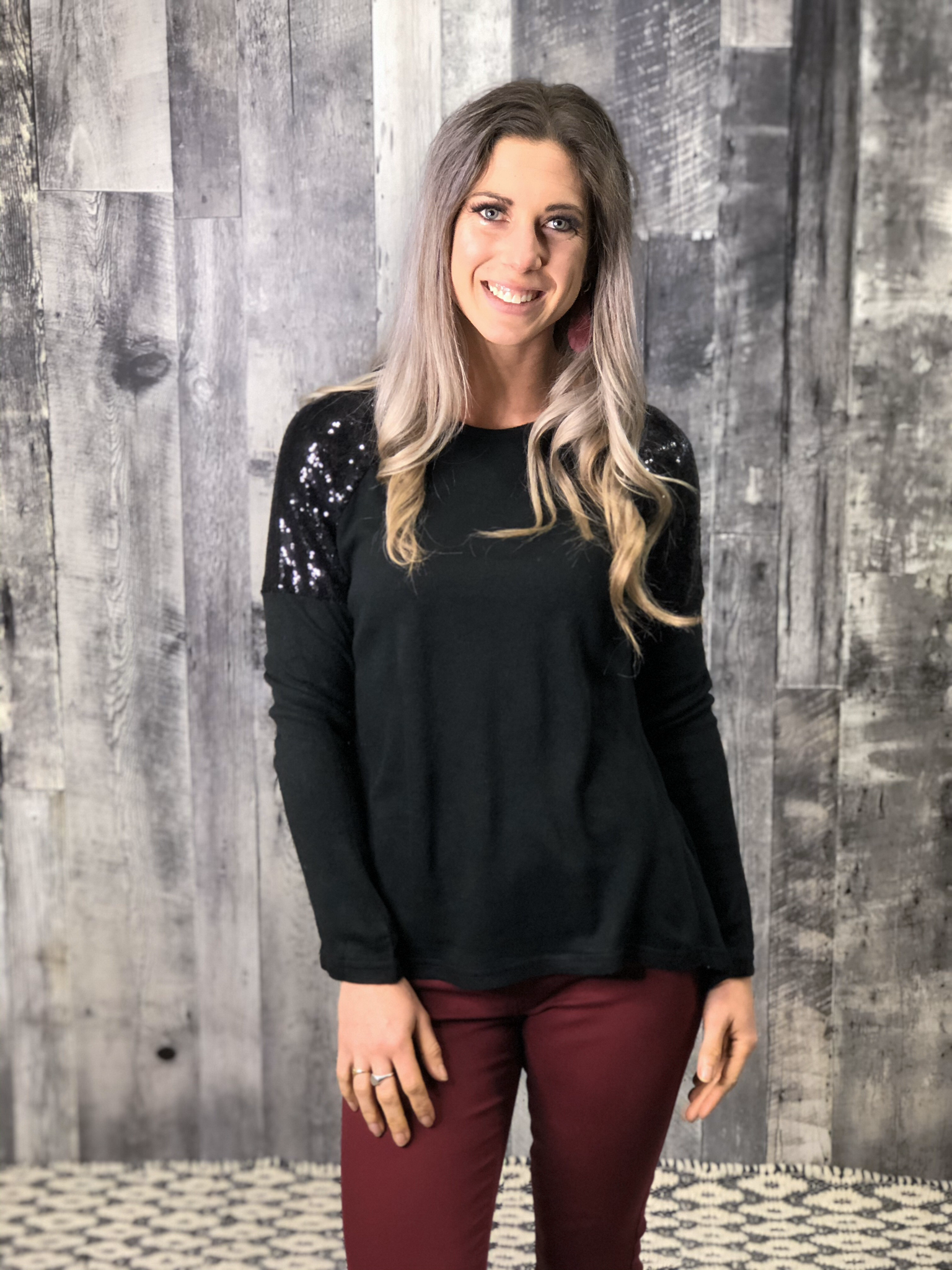 Black Sequin Sweater 84156