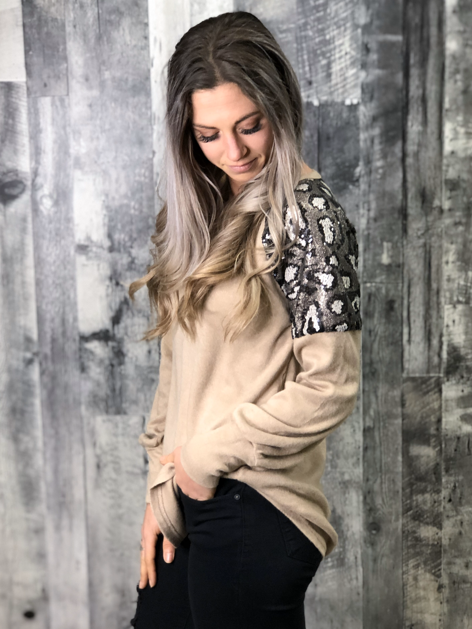 Animal Print Sequin Shoulder Sweater - Mocha