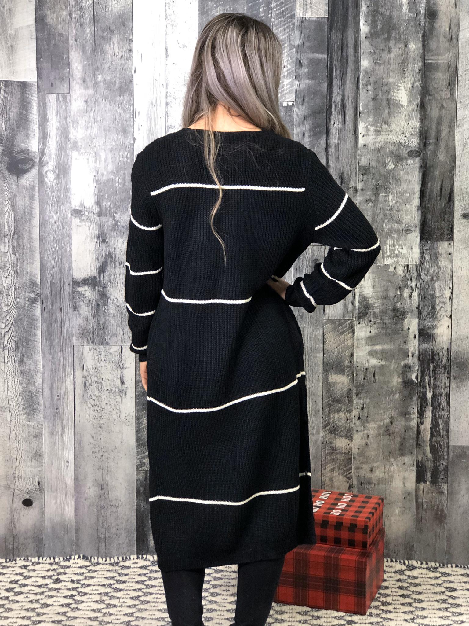 Black Stripe Sweater Duster Cardigan