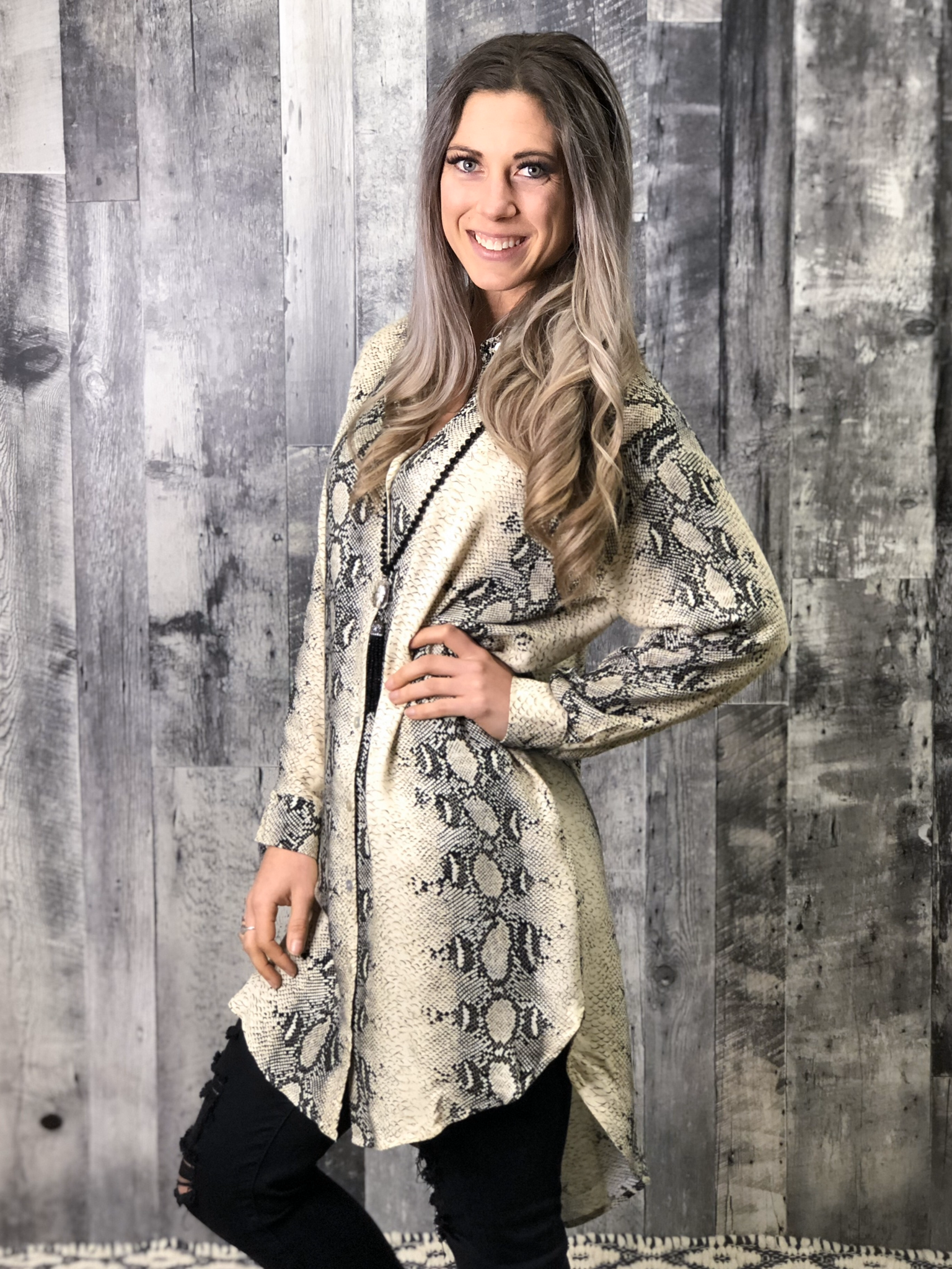 Snakeskin Button Up Tunic