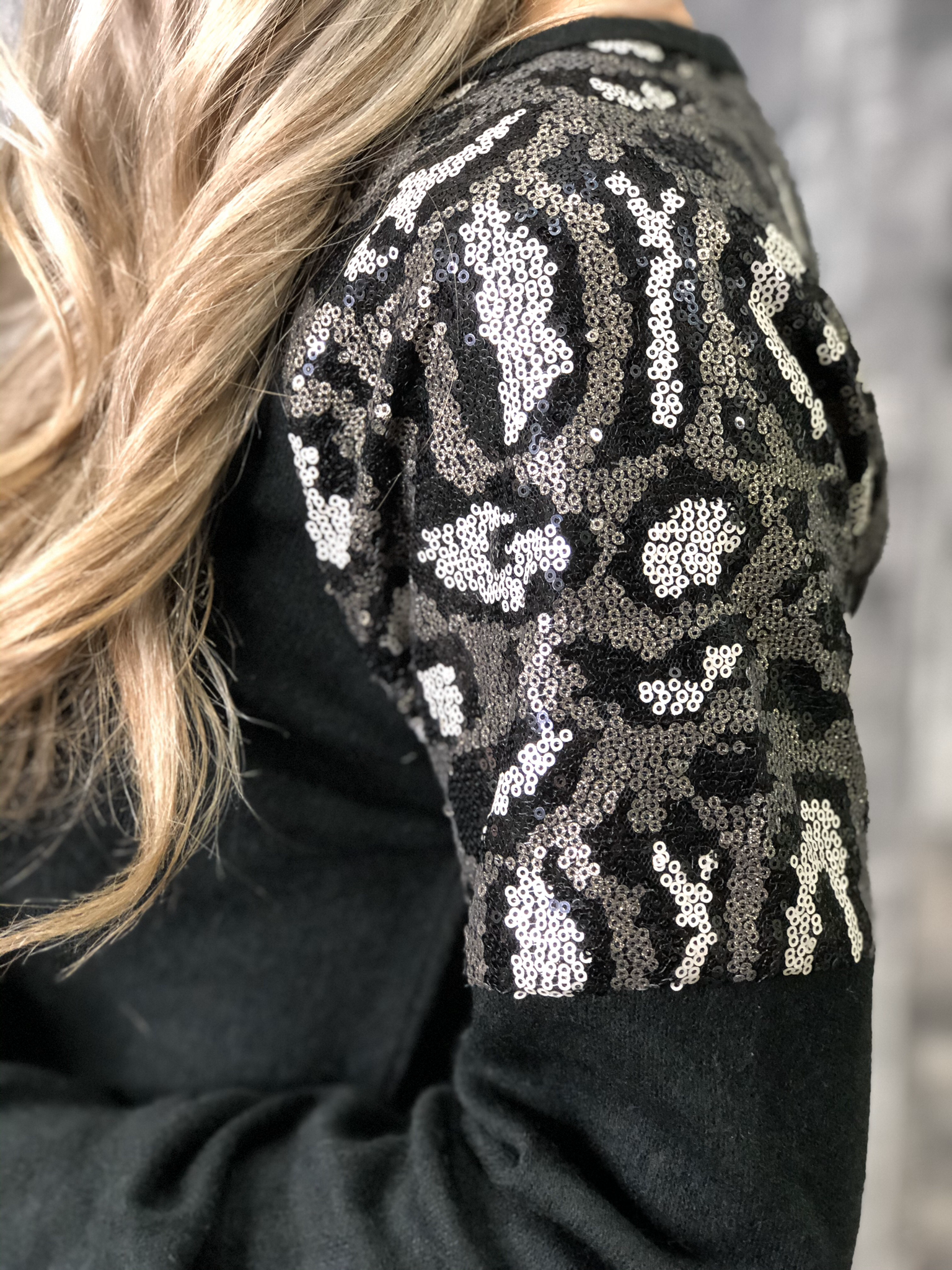 Animal Print Sequin Shoulder Sweater - BLACK