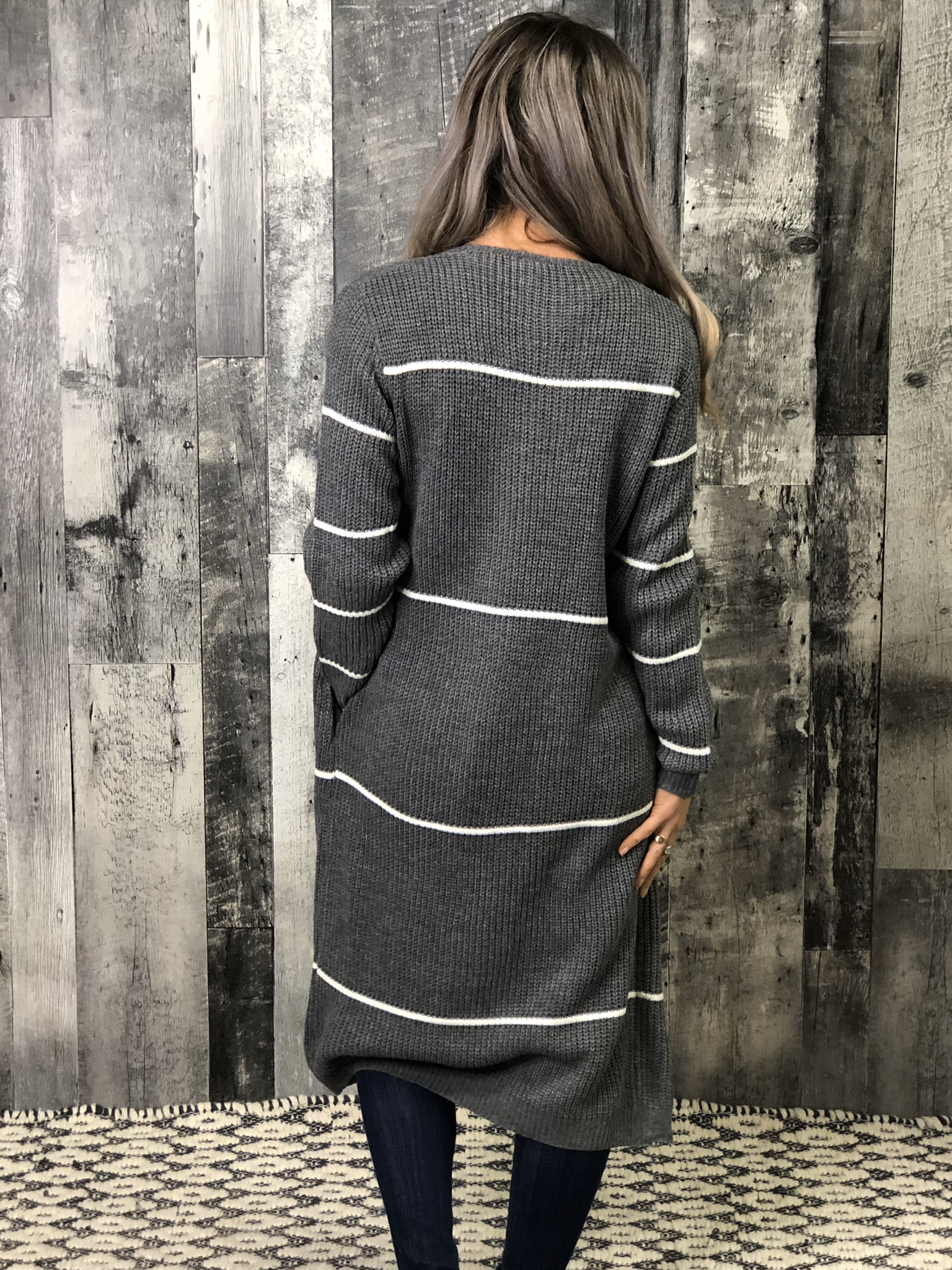 Charcoal Stripe Sweater Duster Cardigan