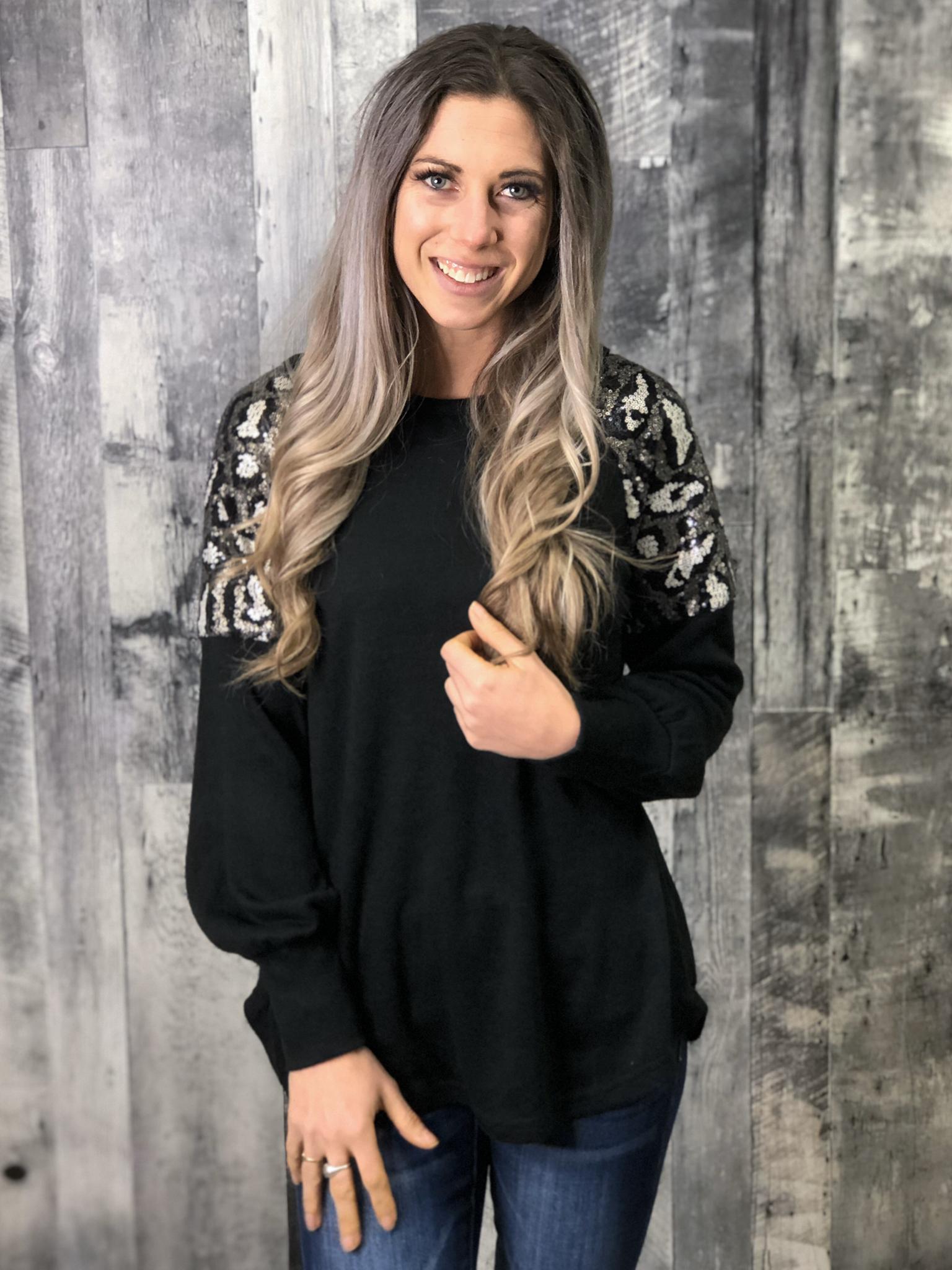 Animal Print Sequin Shoulder Sweater - BLACK 84230