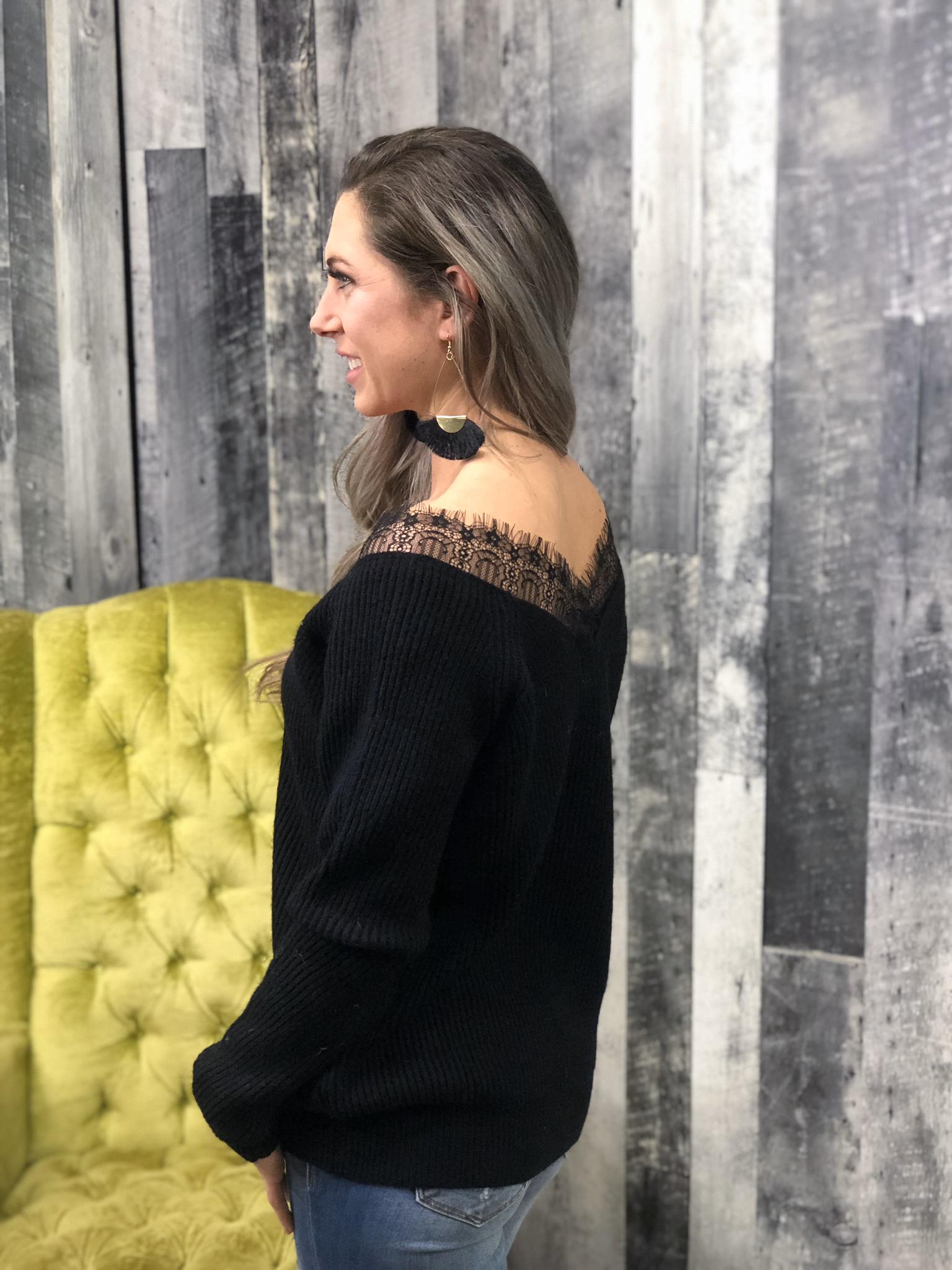 Lace black sweater