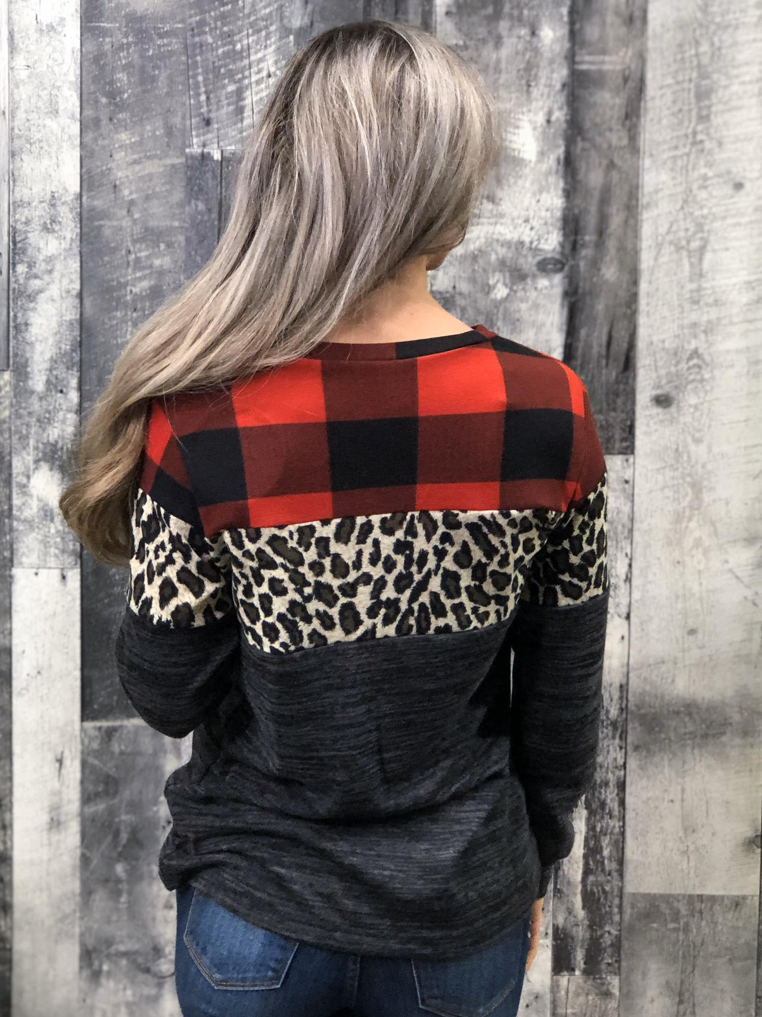Buffalo Plaid Cheetah Color Block Top