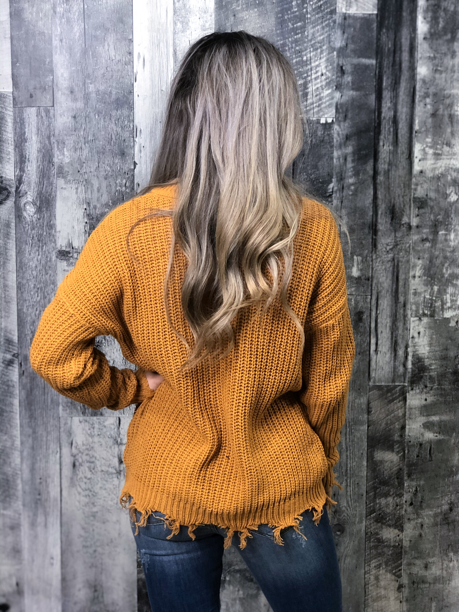Mustard V-neck Knit Sweater with Frey Detail