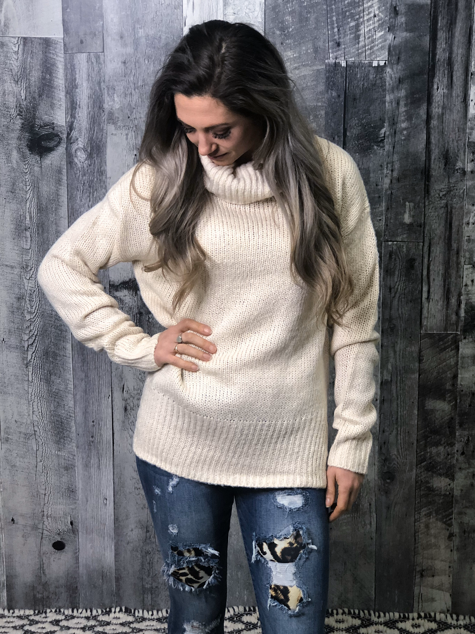 Cream Turtle Neck Knitted Sweater