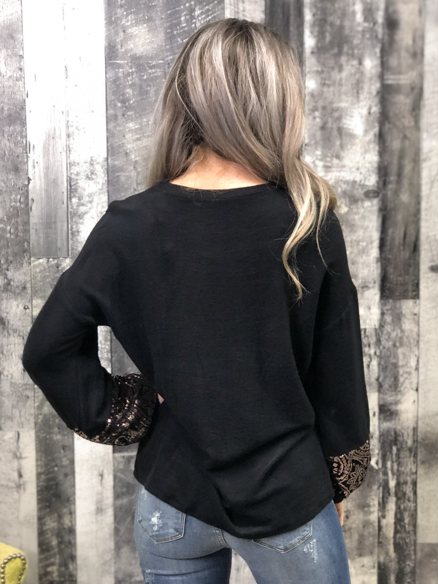 Rose Gold Sleeve Detail Top