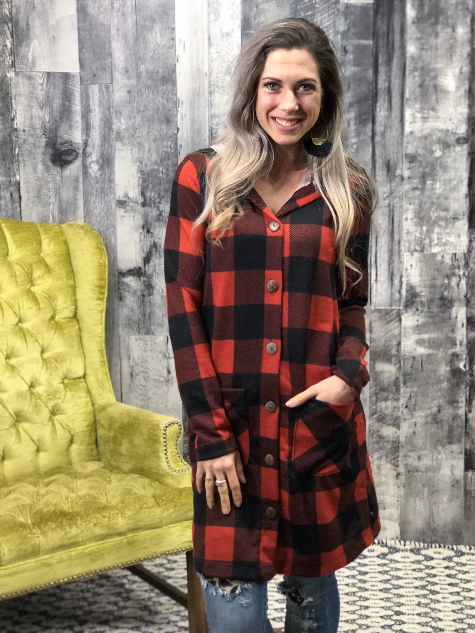 Buffalo Plaid Button Cardigan with hood