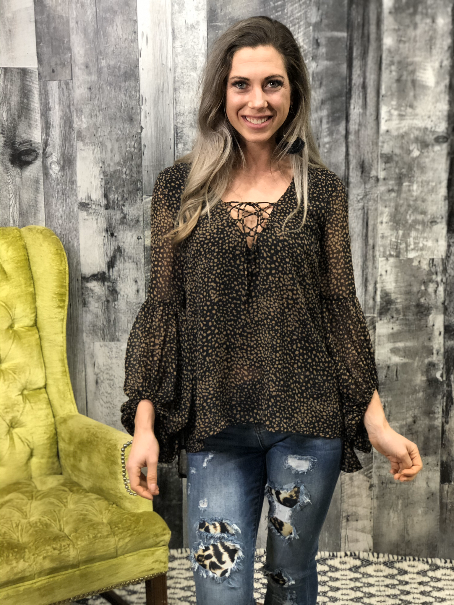 Dalmation Top Blouse with stand out sleeves