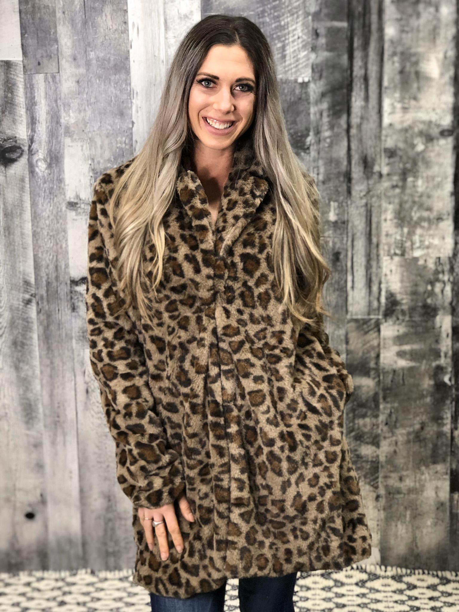 Leopard lined faux fur jacket 984510