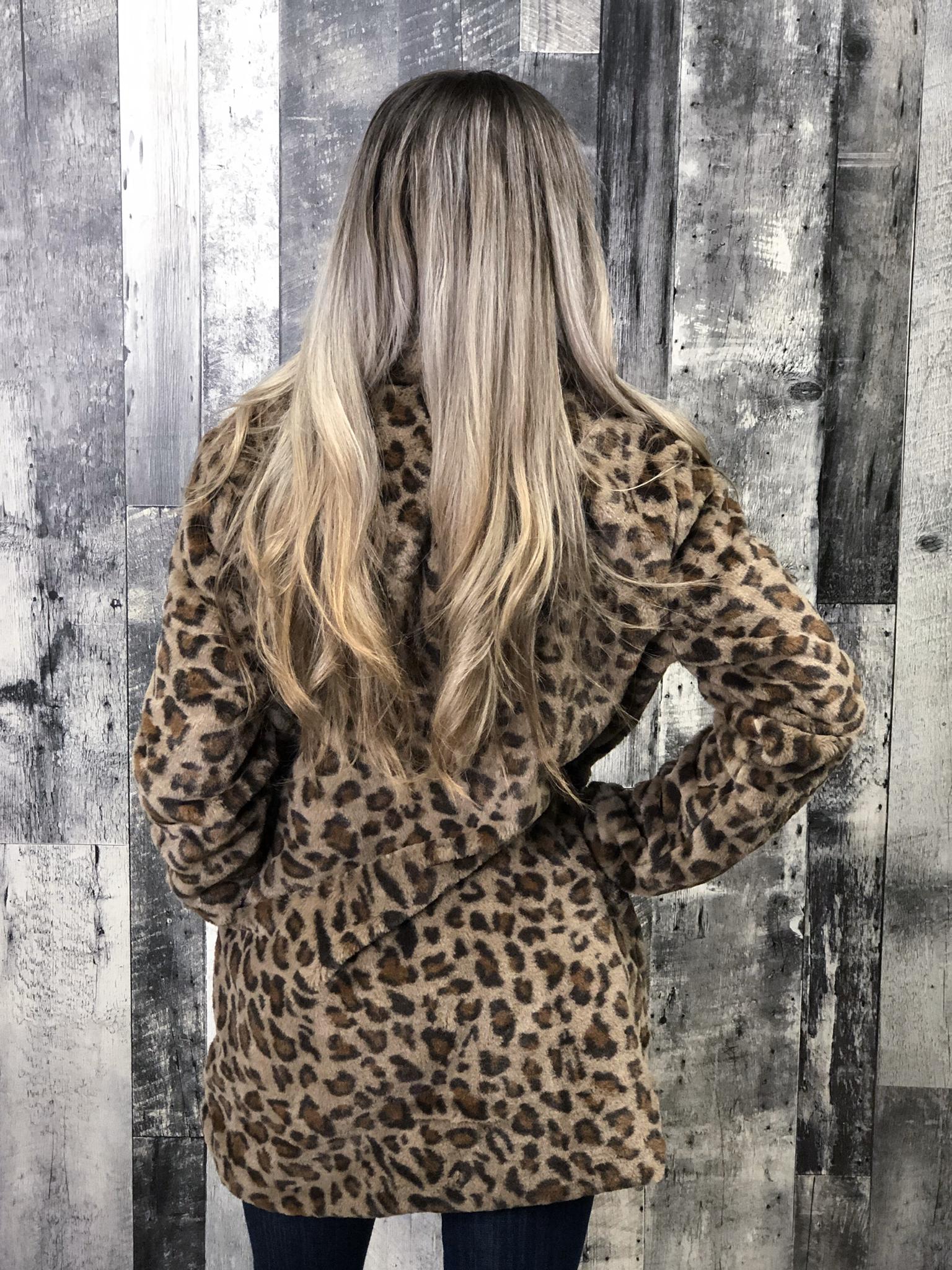 Leopard lined faux fur jacket