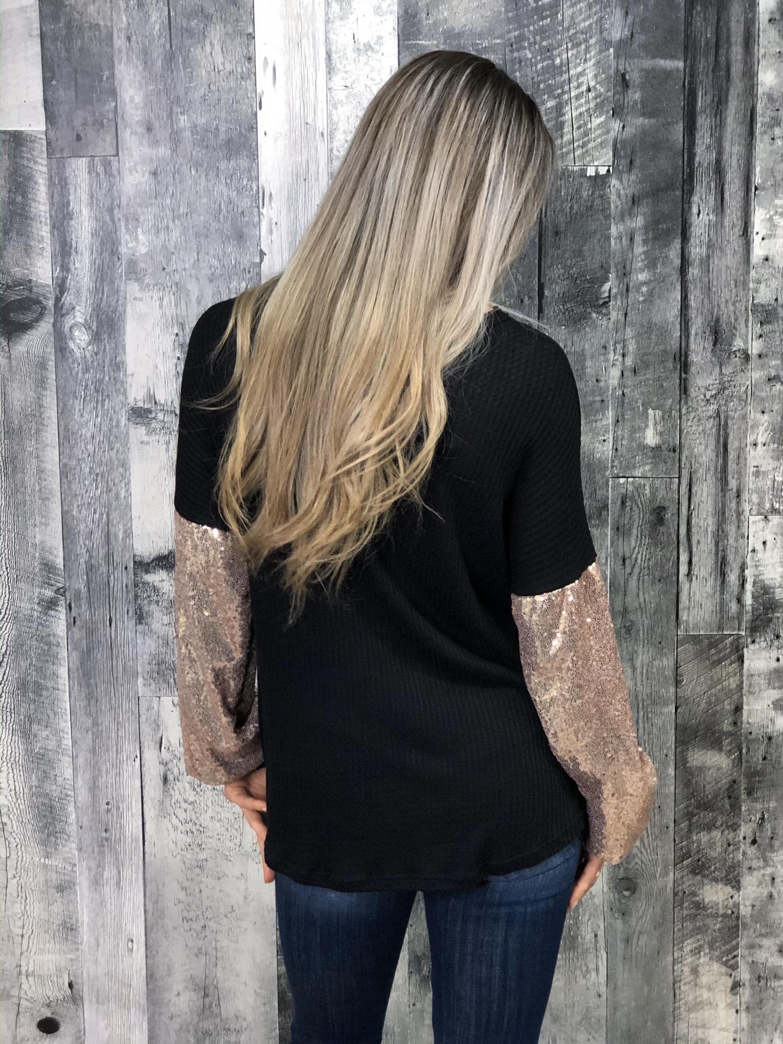 Sequin Sleeve Black Choker Waffle Top