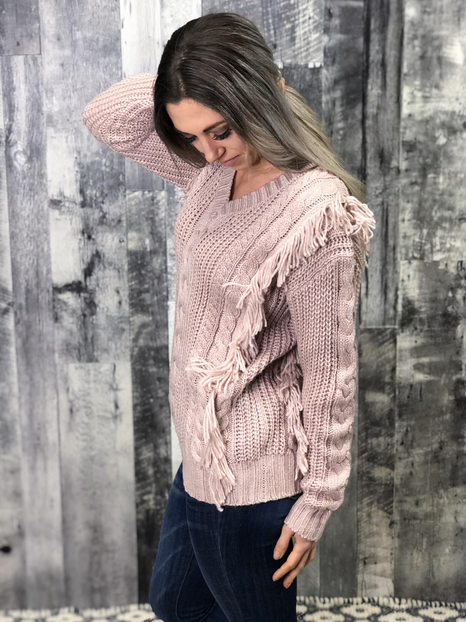 Blush Fringe Sweater