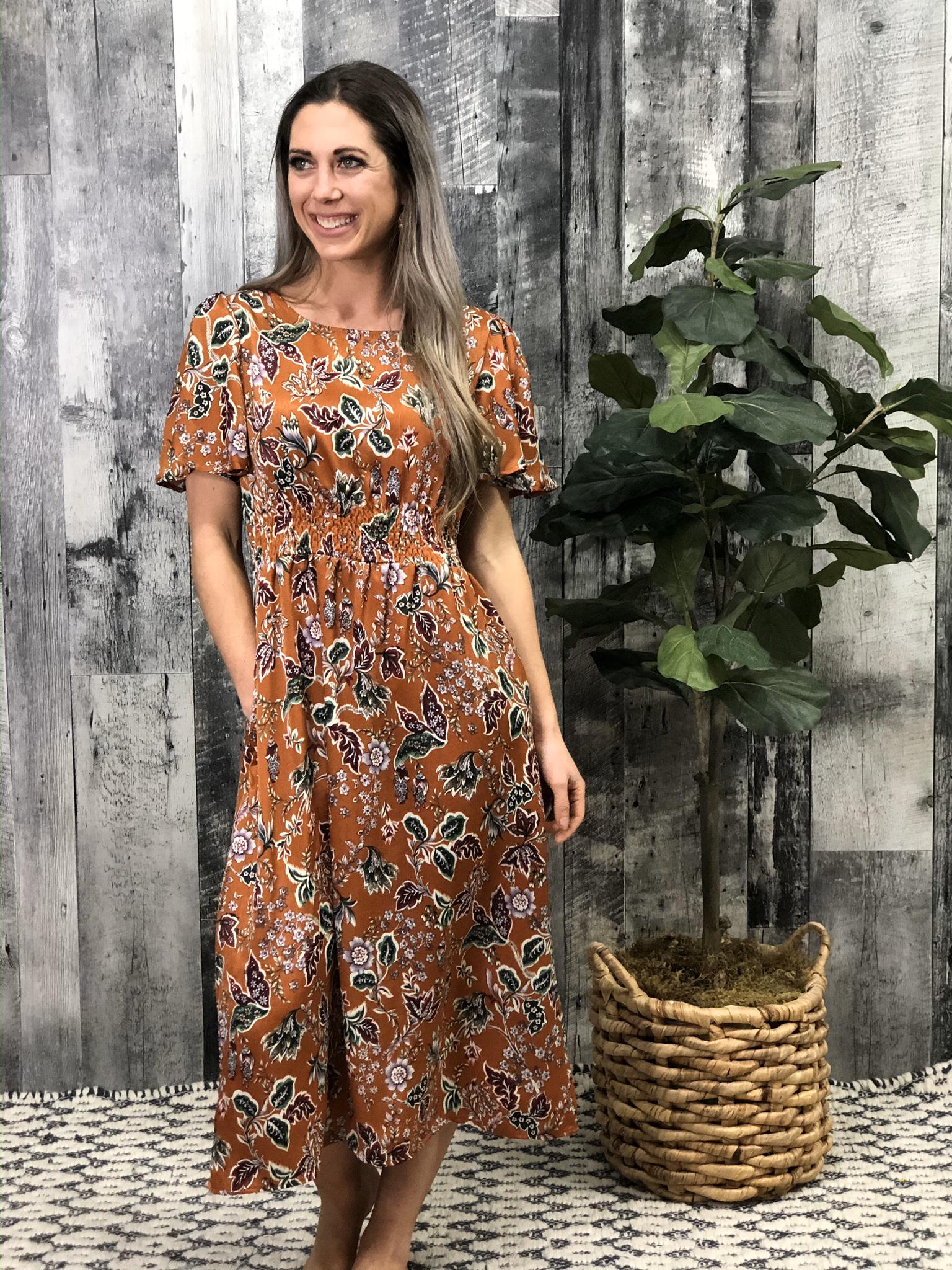 Tea Length Print Dress 84534