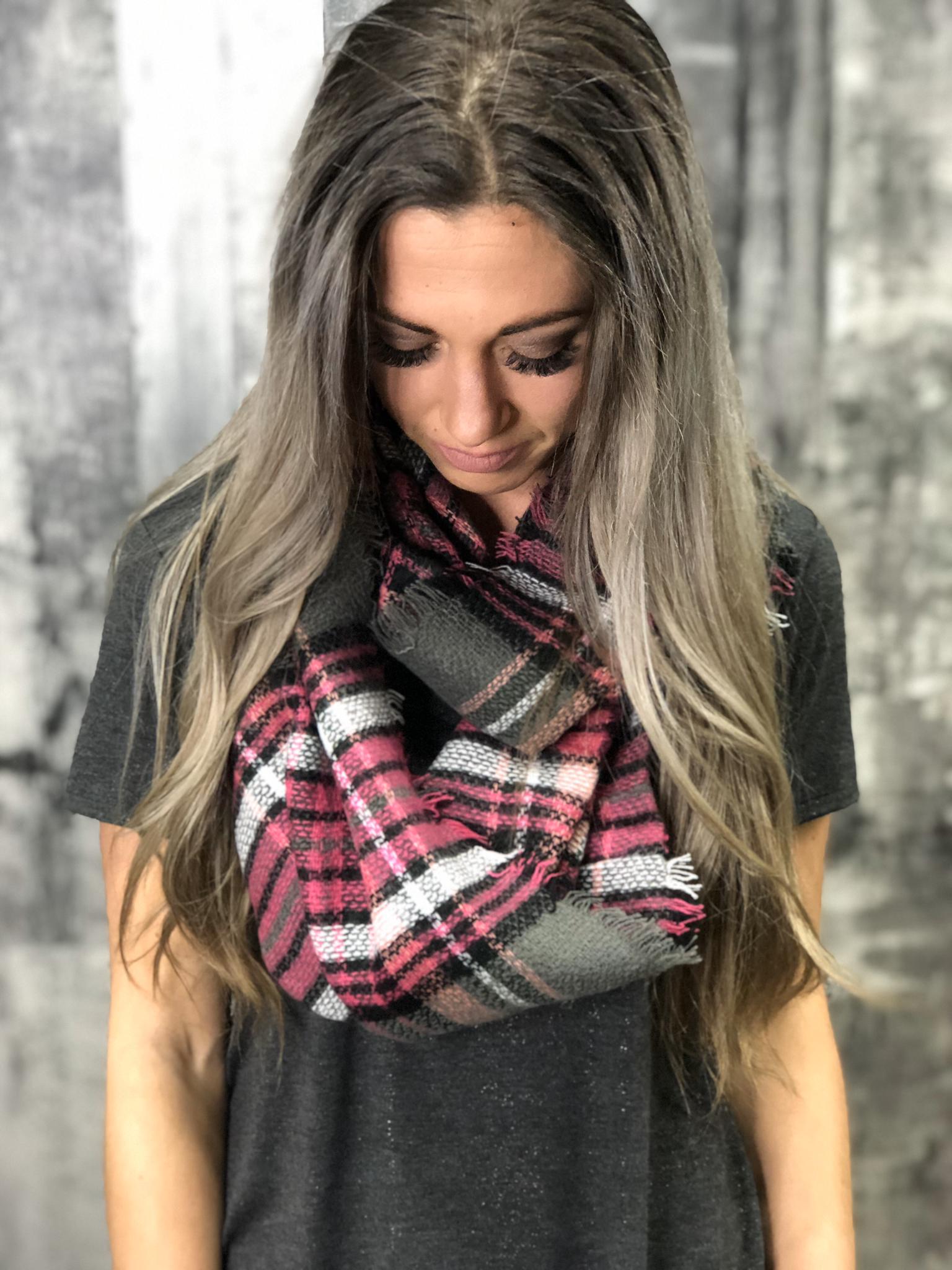 Pink/Grey Infinity Scarf 84518