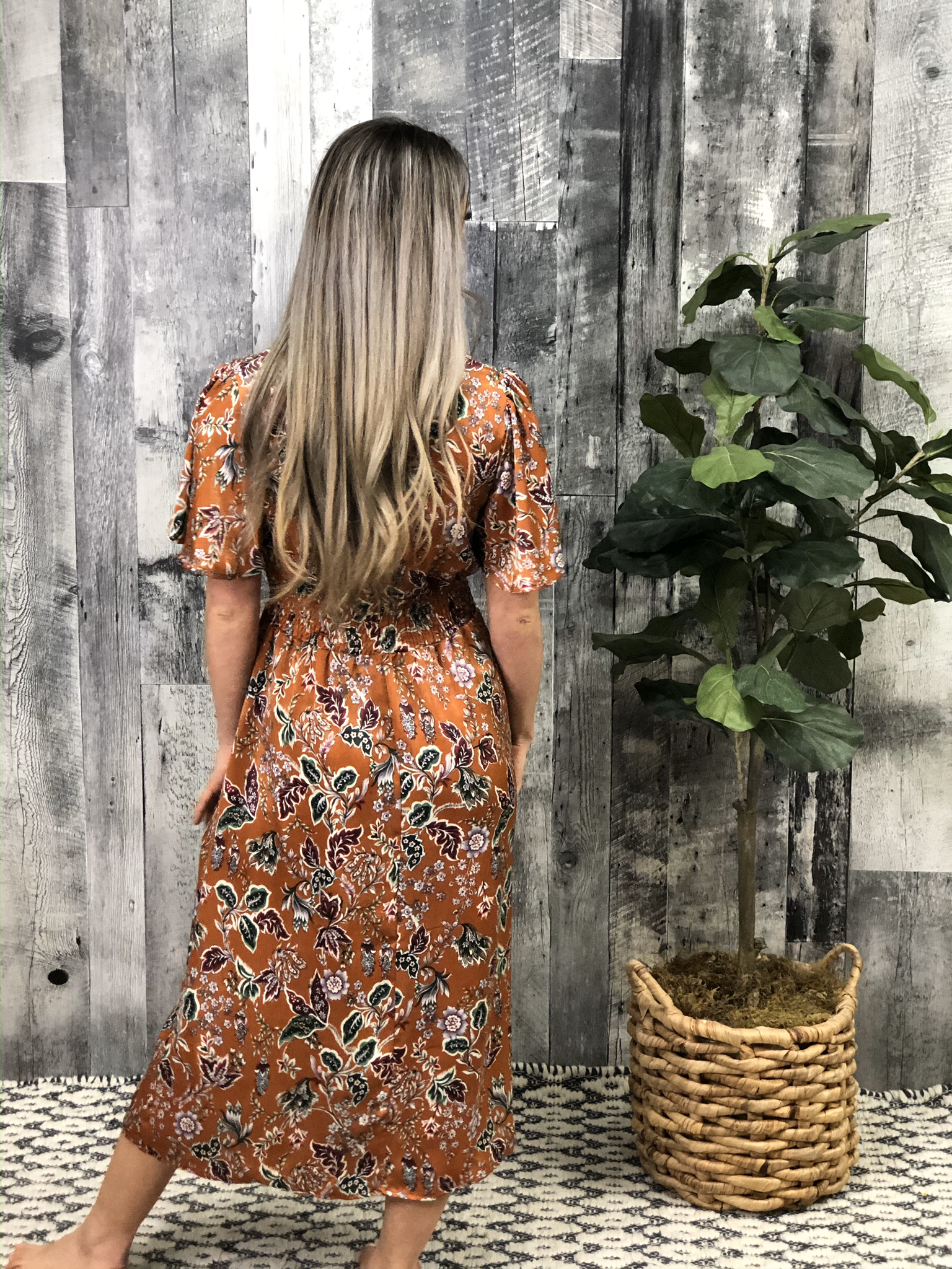 Tea Length Print Dress